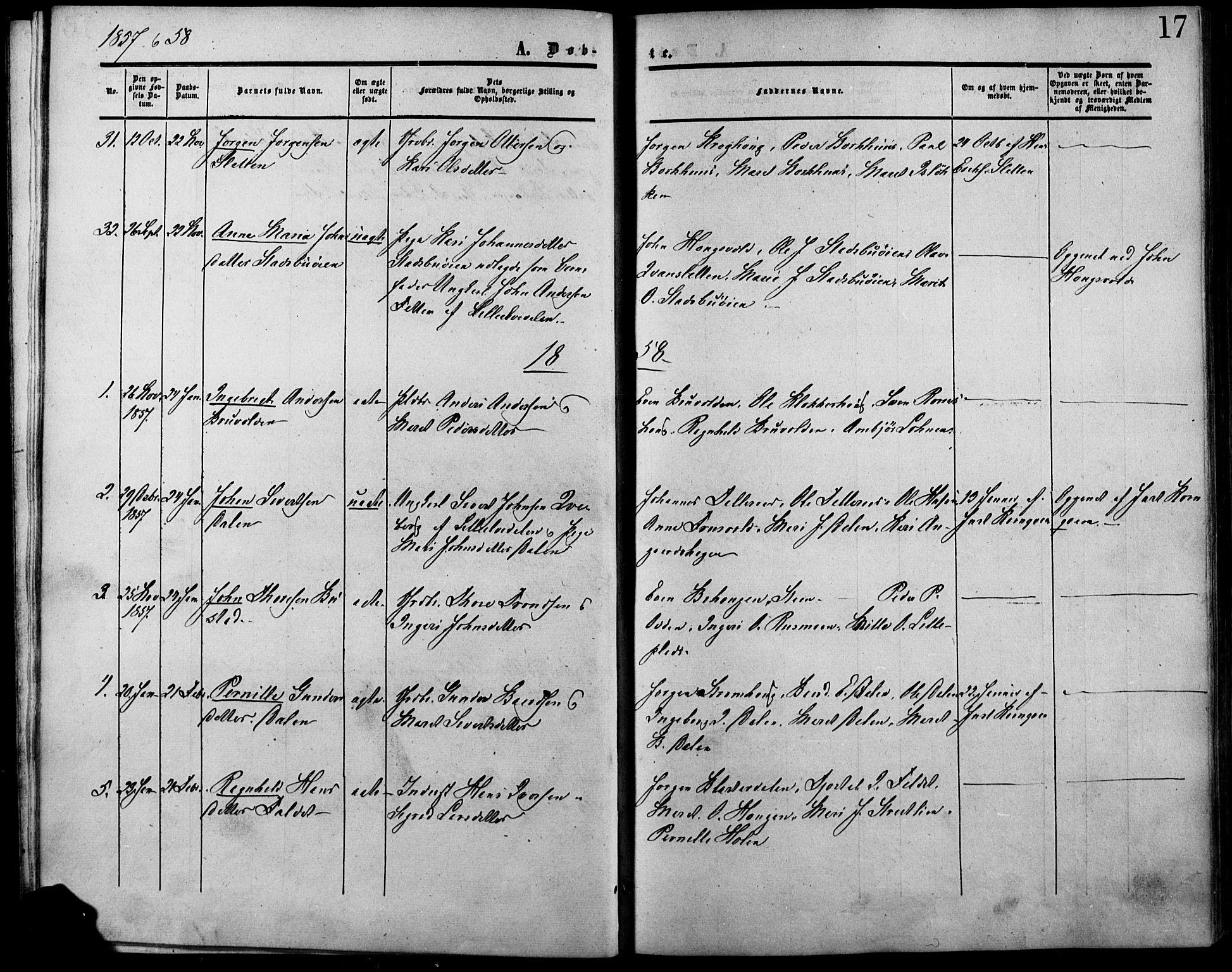 SAH, Lesja prestekontor, Ministerialbok nr. 7, 1854-1862, s. 17
