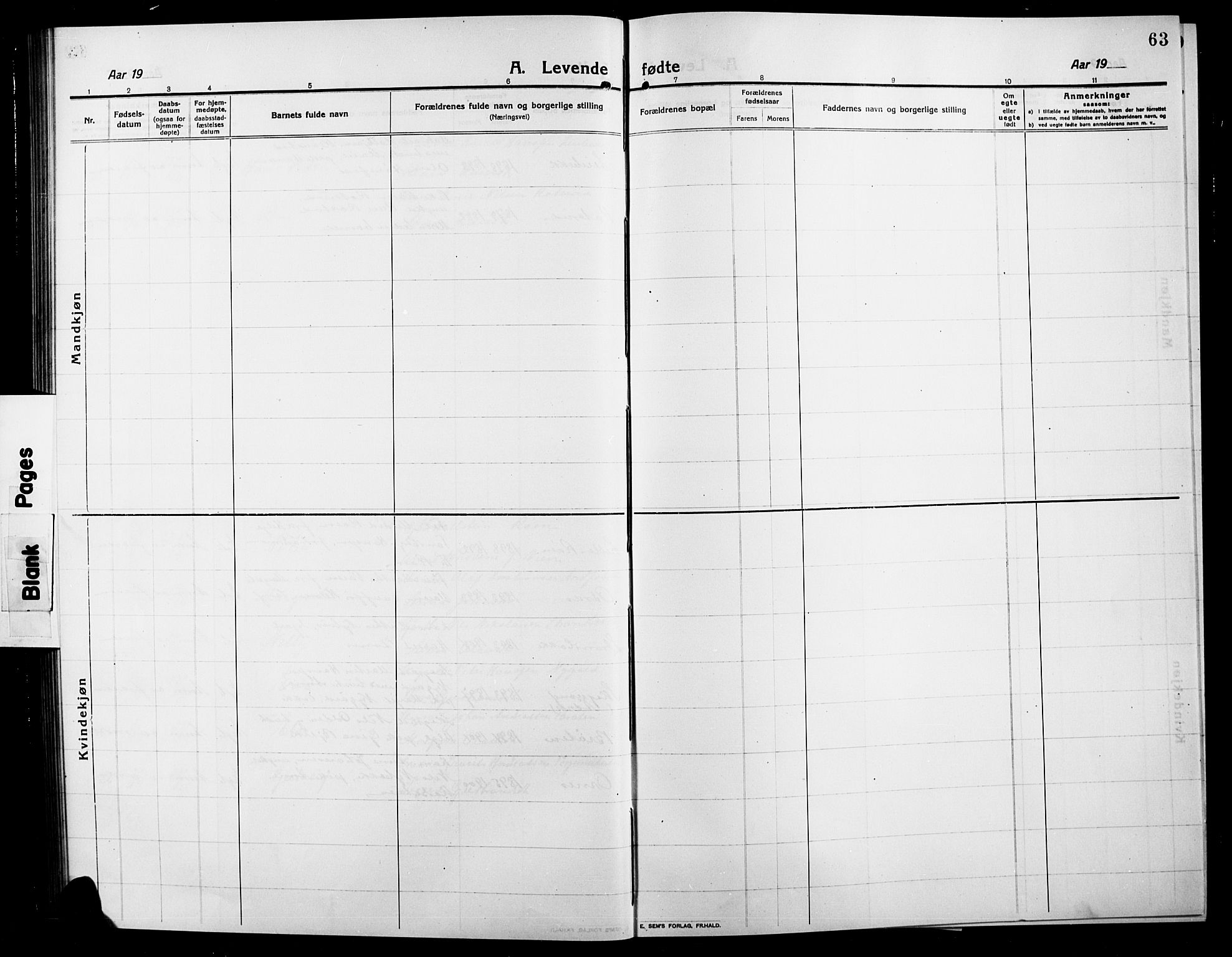 SAH, Søndre Land prestekontor, L/L0006: Klokkerbok nr. 6, 1912-1925, s. 63