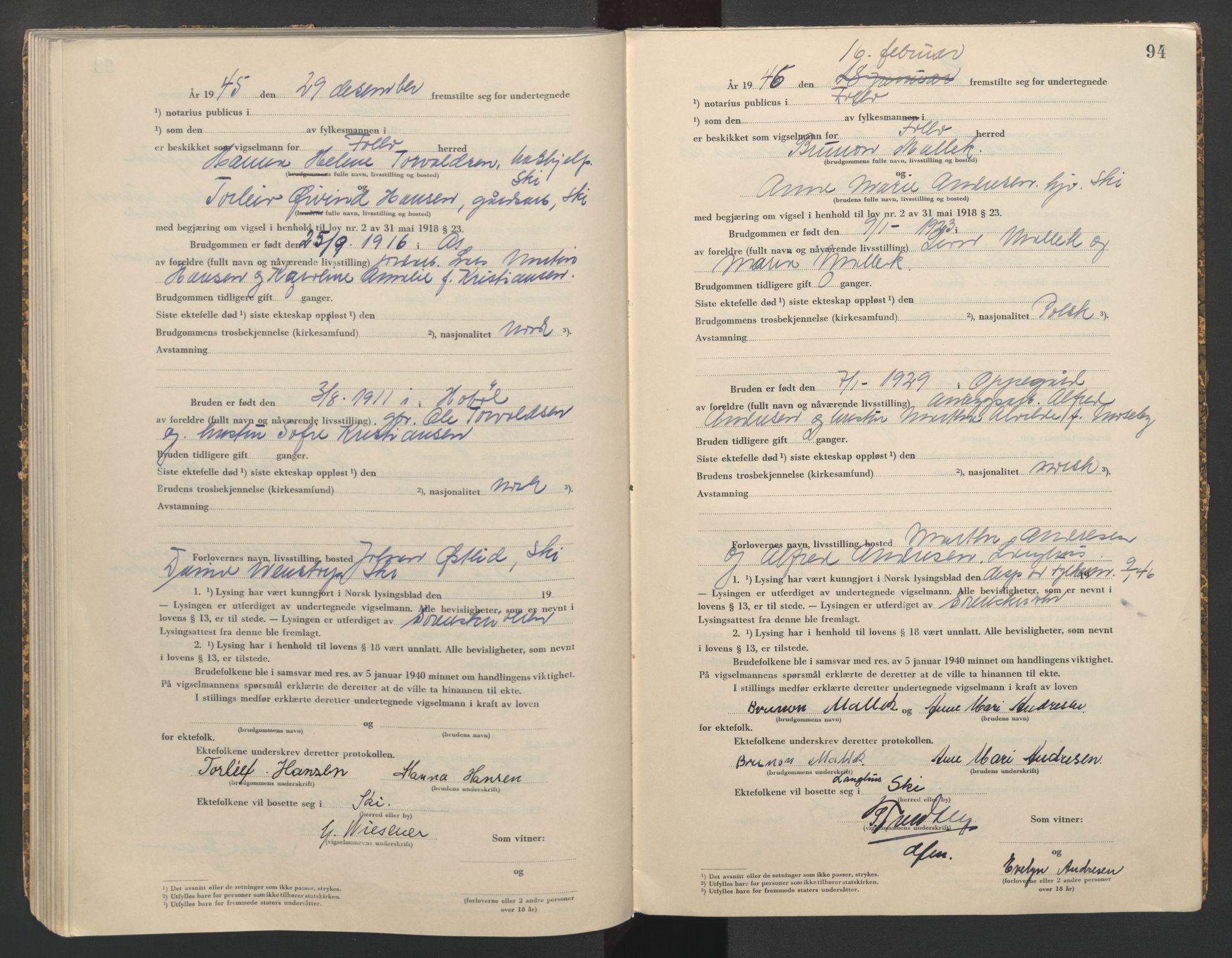 SAO, Follo sorenskriveri, L/La/Lab/L0002: Vigselsbok, 1942-1946, s. 94