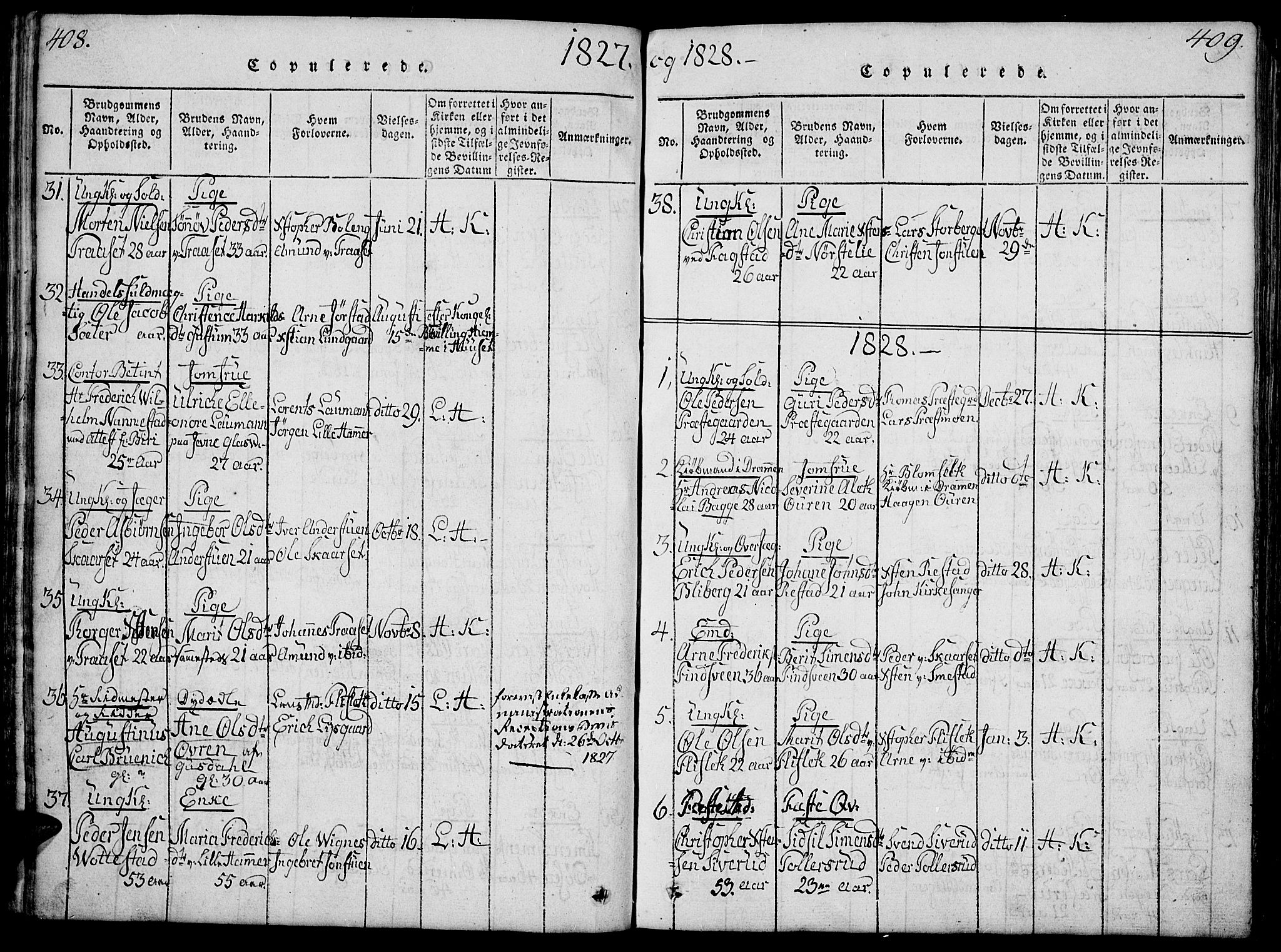 SAH, Fåberg prestekontor, Klokkerbok nr. 4, 1818-1837, s. 408-409