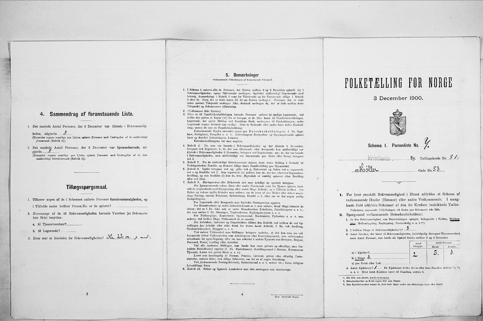 SAO, Folketelling 1900 for 0301 Kristiania kjøpstad, 1900, s. 62435