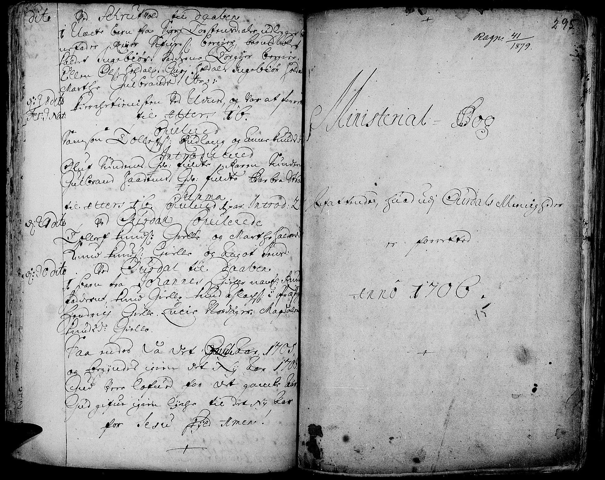 SAH, Aurdal prestekontor, Ministerialbok nr. 1-3, 1692-1730, s. 295