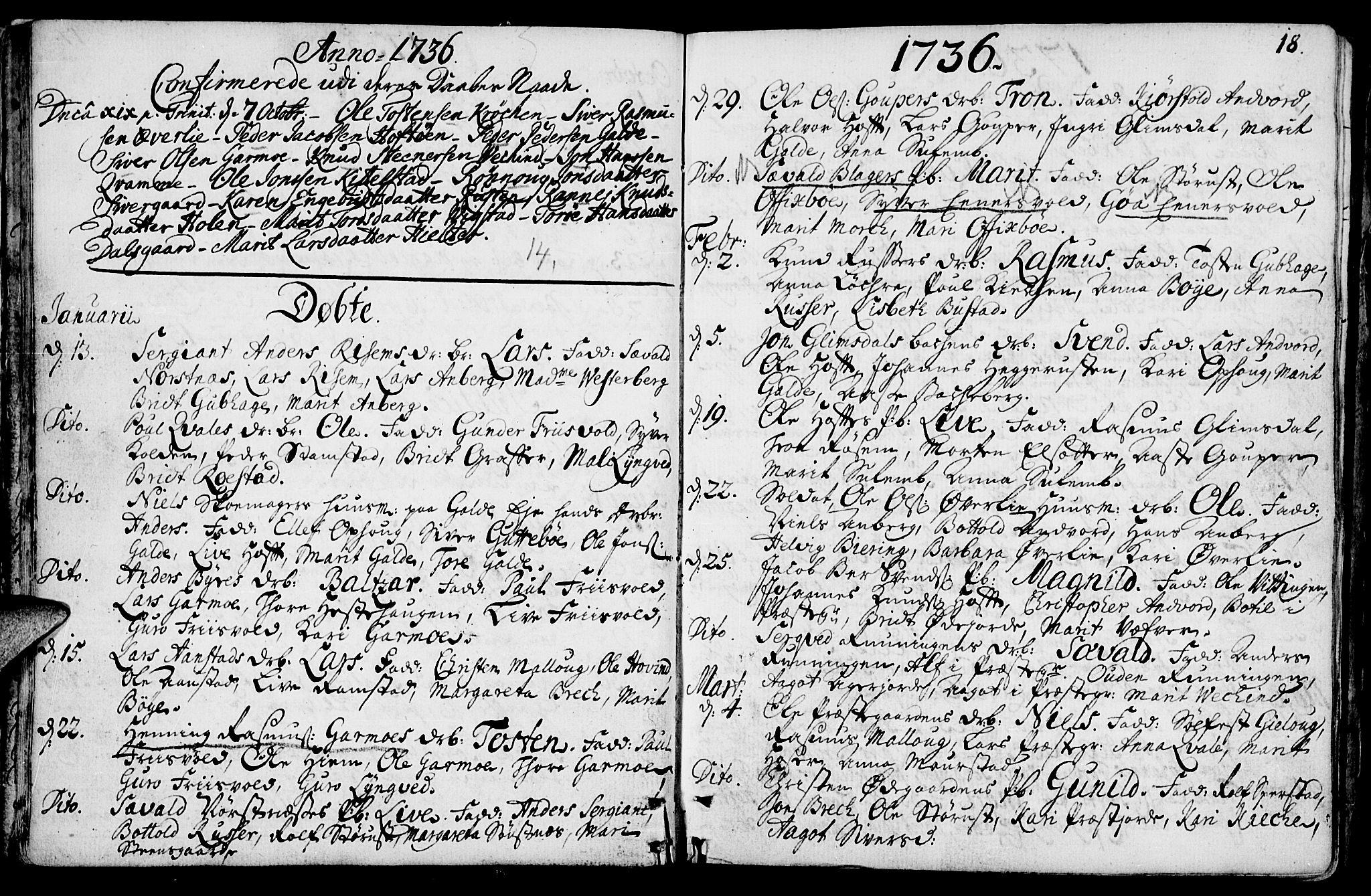 SAH, Lom prestekontor, K/L0001: Ministerialbok nr. 1, 1733-1748, s. 18
