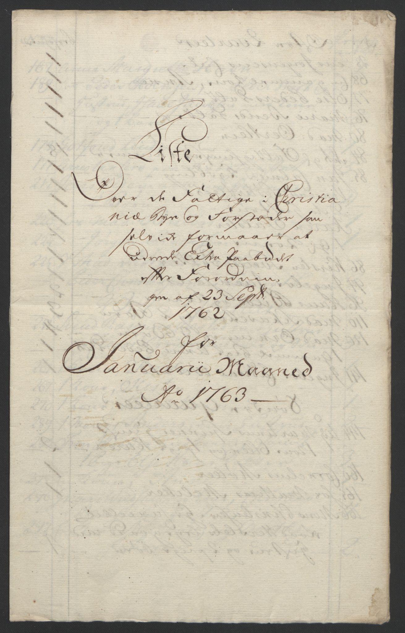 RA, Rentekammeret inntil 1814, Reviderte regnskaper, Byregnskaper, R/Re/L0072: [E13] Kontribusjonsregnskap, 1763-1764, s. 43