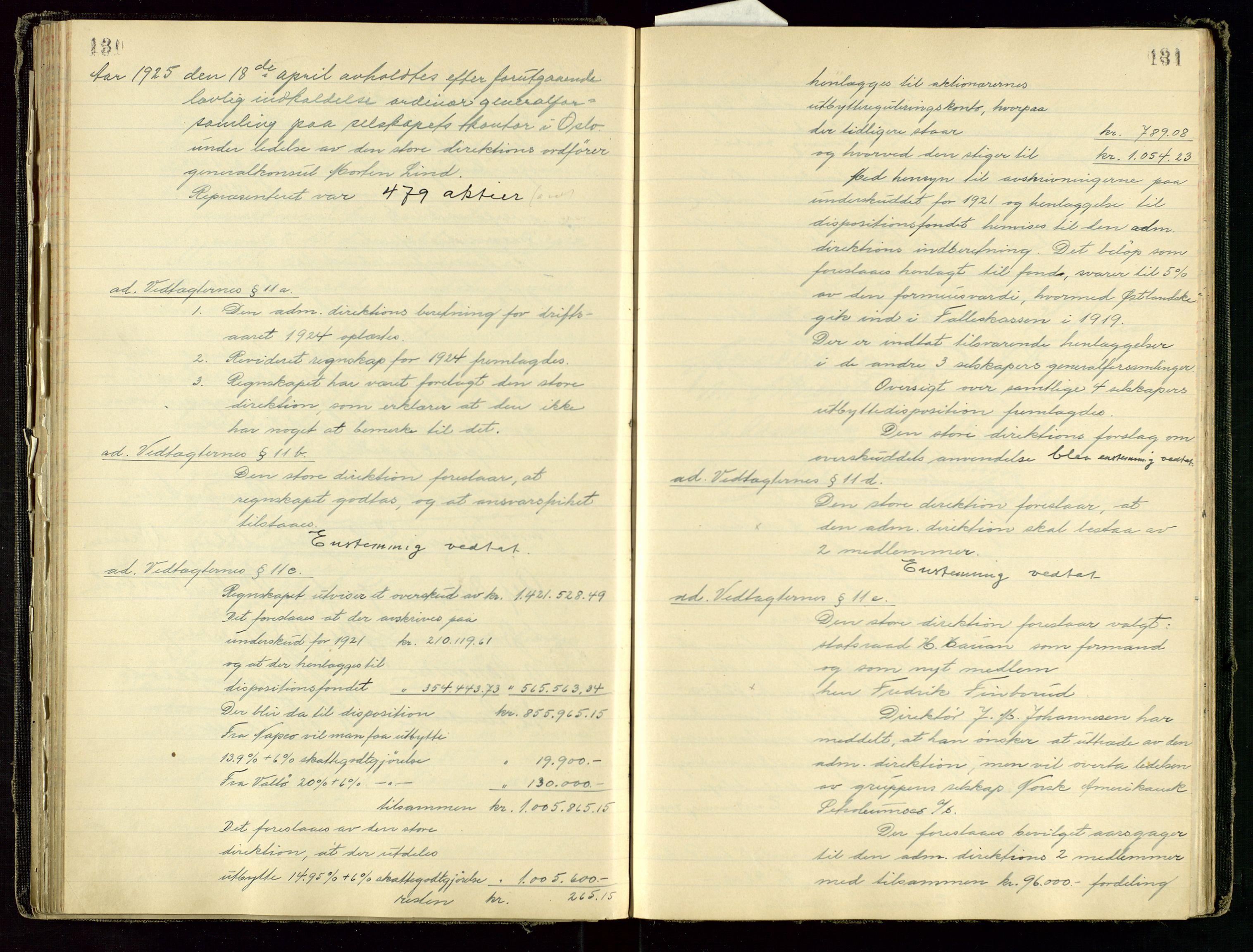 SAST, PA 1534 - Østlandske Petroleumscompagni A/S, A/Aa/L0001: Generalforsamlinger og direksjonsprotokoller., 1892-1960, s. 130-131