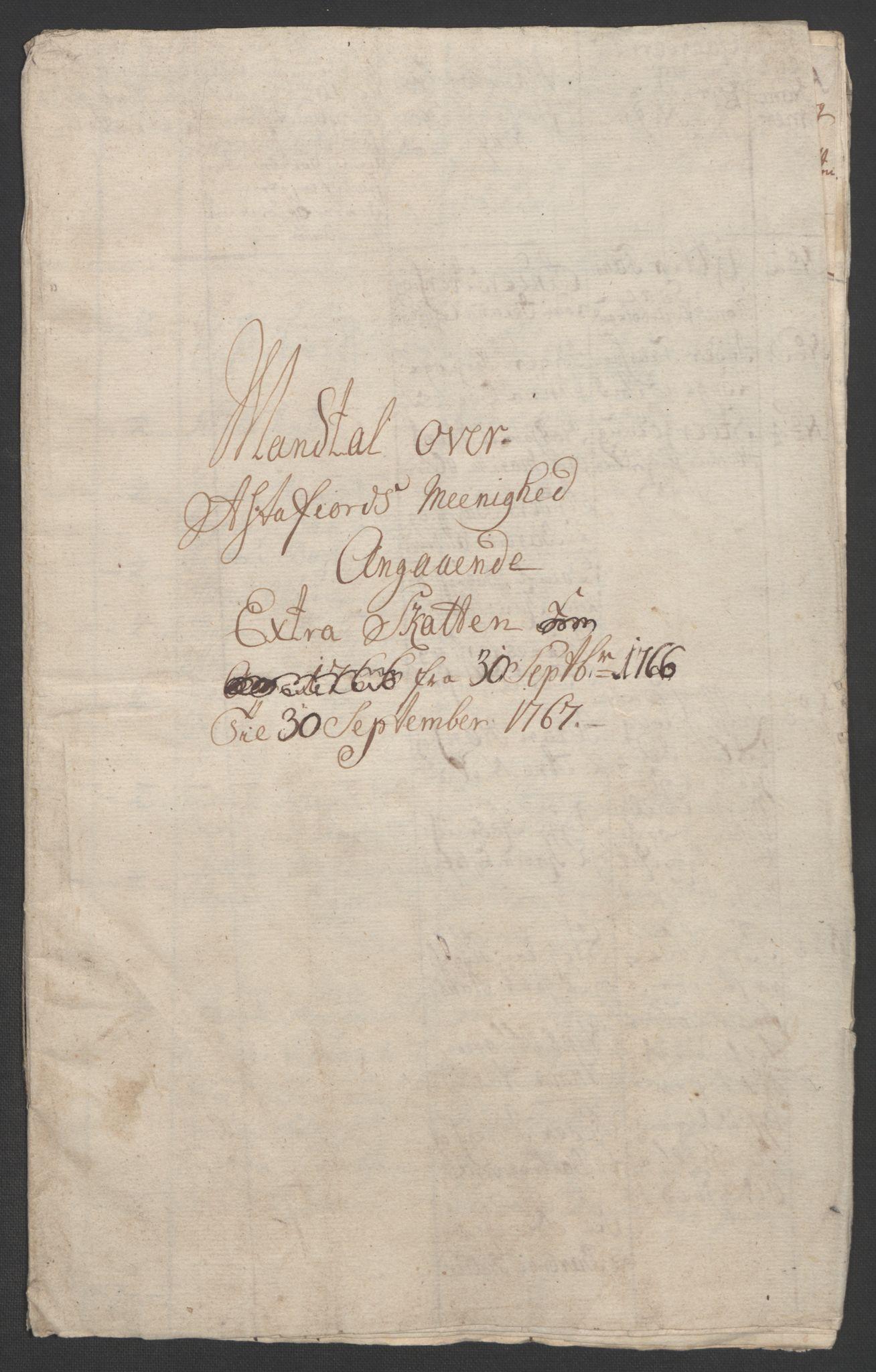 RA, Rentekammeret inntil 1814, Realistisk ordnet avdeling, Ol/L0022b: [Gg 10]: Ekstraskatten, 23.09.1762. Senja og Troms, 1765-1768, s. 185