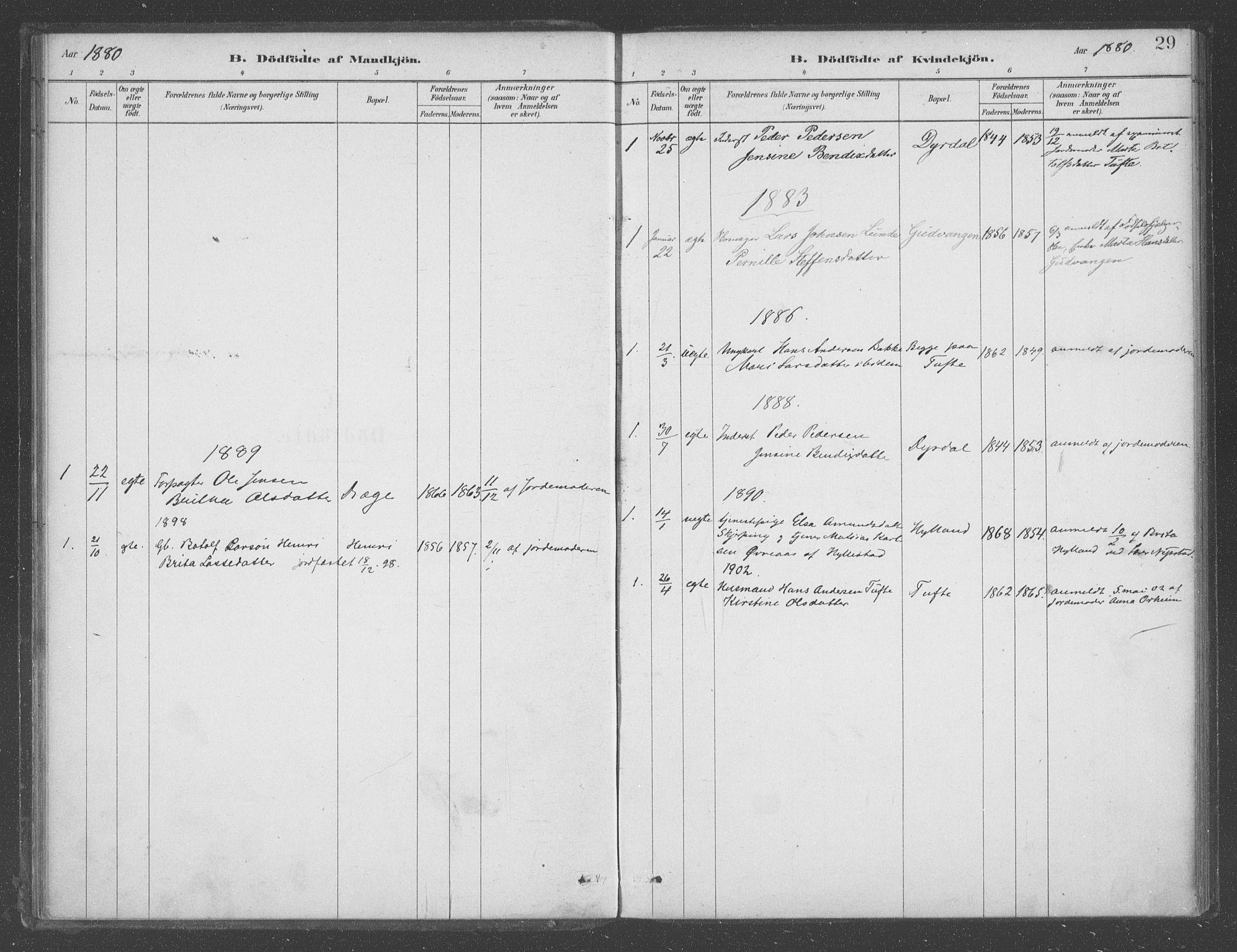 SAB, Aurland sokneprestembete, H/Ha/Had/L0001: Ministerialbok nr. D  1, 1880-1903, s. 29