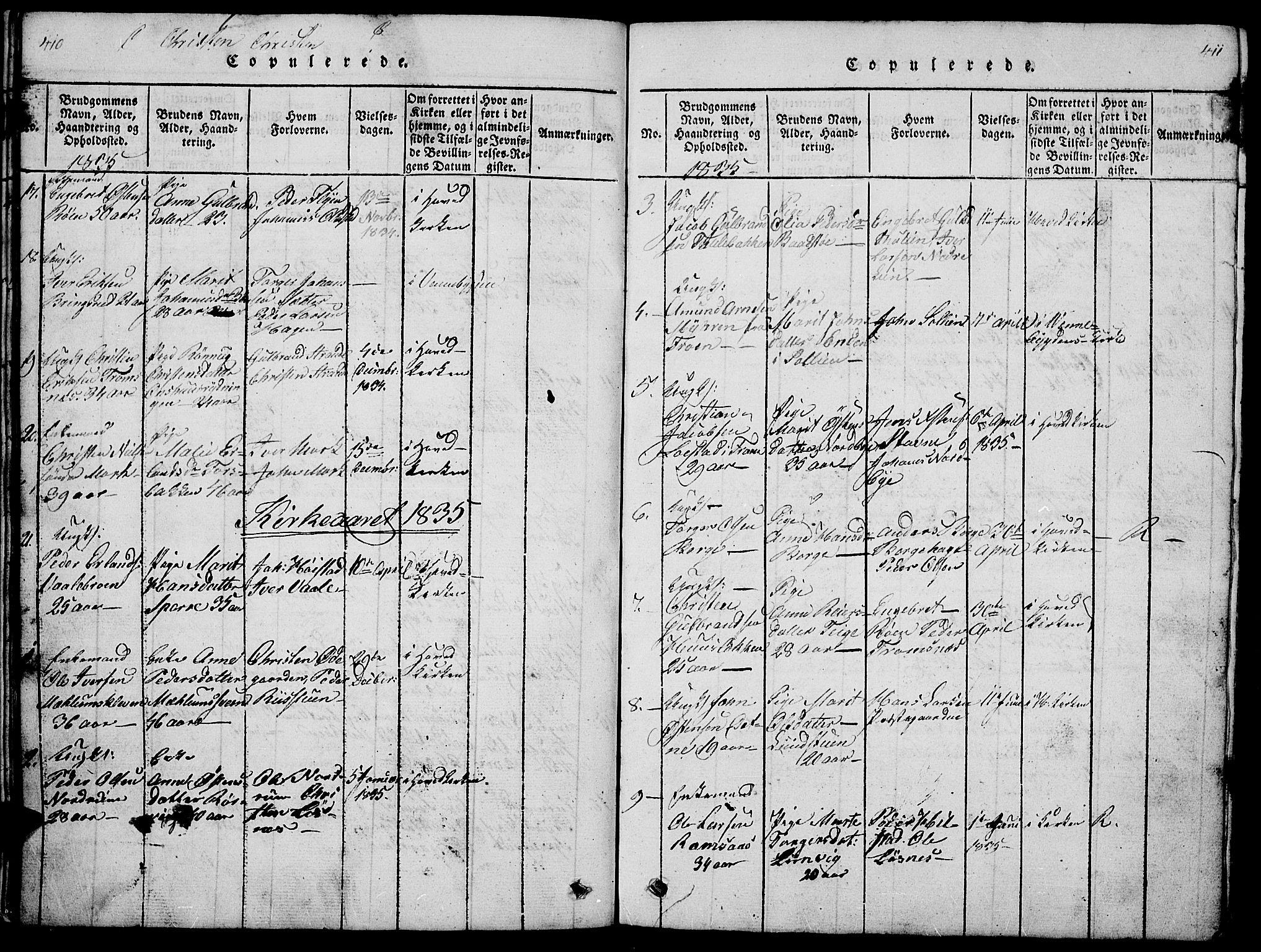 SAH, Ringebu prestekontor, Klokkerbok nr. 1, 1821-1839, s. 410-411