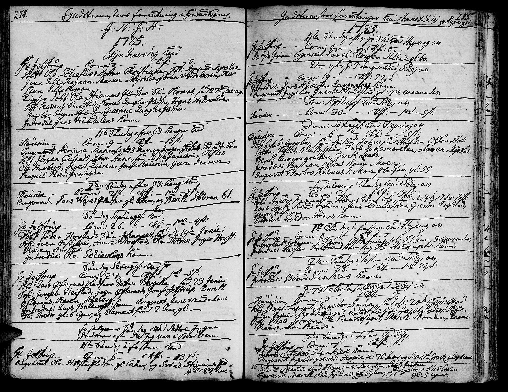 SAT, Ministerialprotokoller, klokkerbøker og fødselsregistre - Nord-Trøndelag, 735/L0331: Ministerialbok nr. 735A02, 1762-1794, s. 274-275