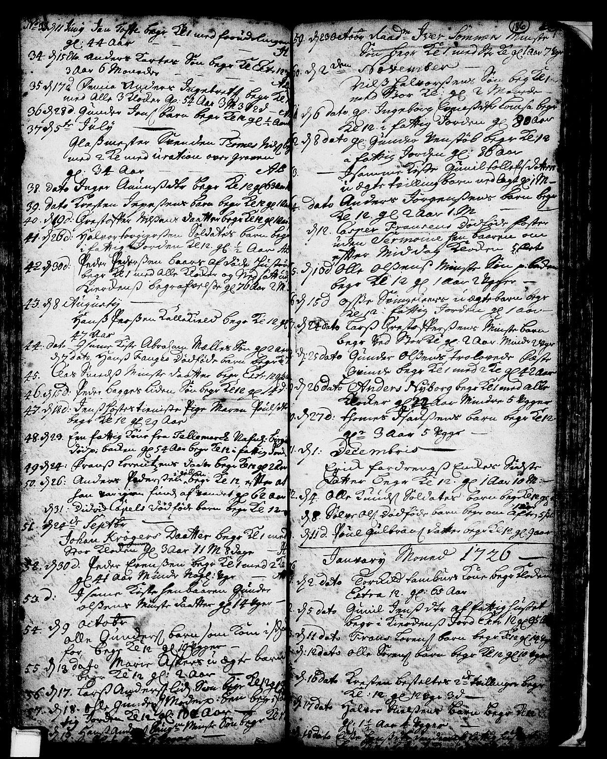SAKO, Skien kirkebøker, F/Fa/L0002: Ministerialbok nr. 2, 1716-1757, s. 186