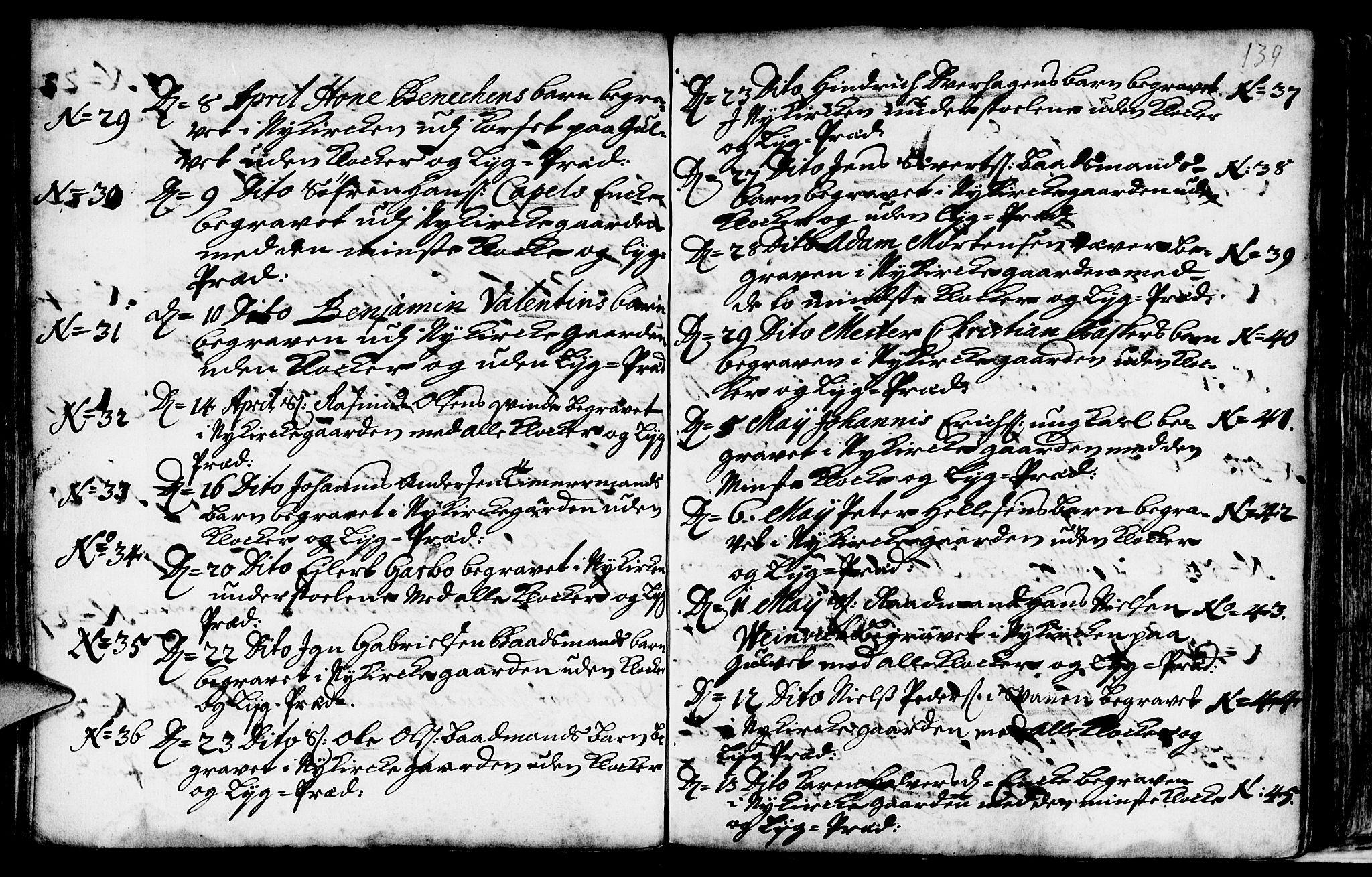 SAB, Nykirken Sokneprestembete, H/Haa: Ministerialbok nr. A 9, 1689-1759, s. 139
