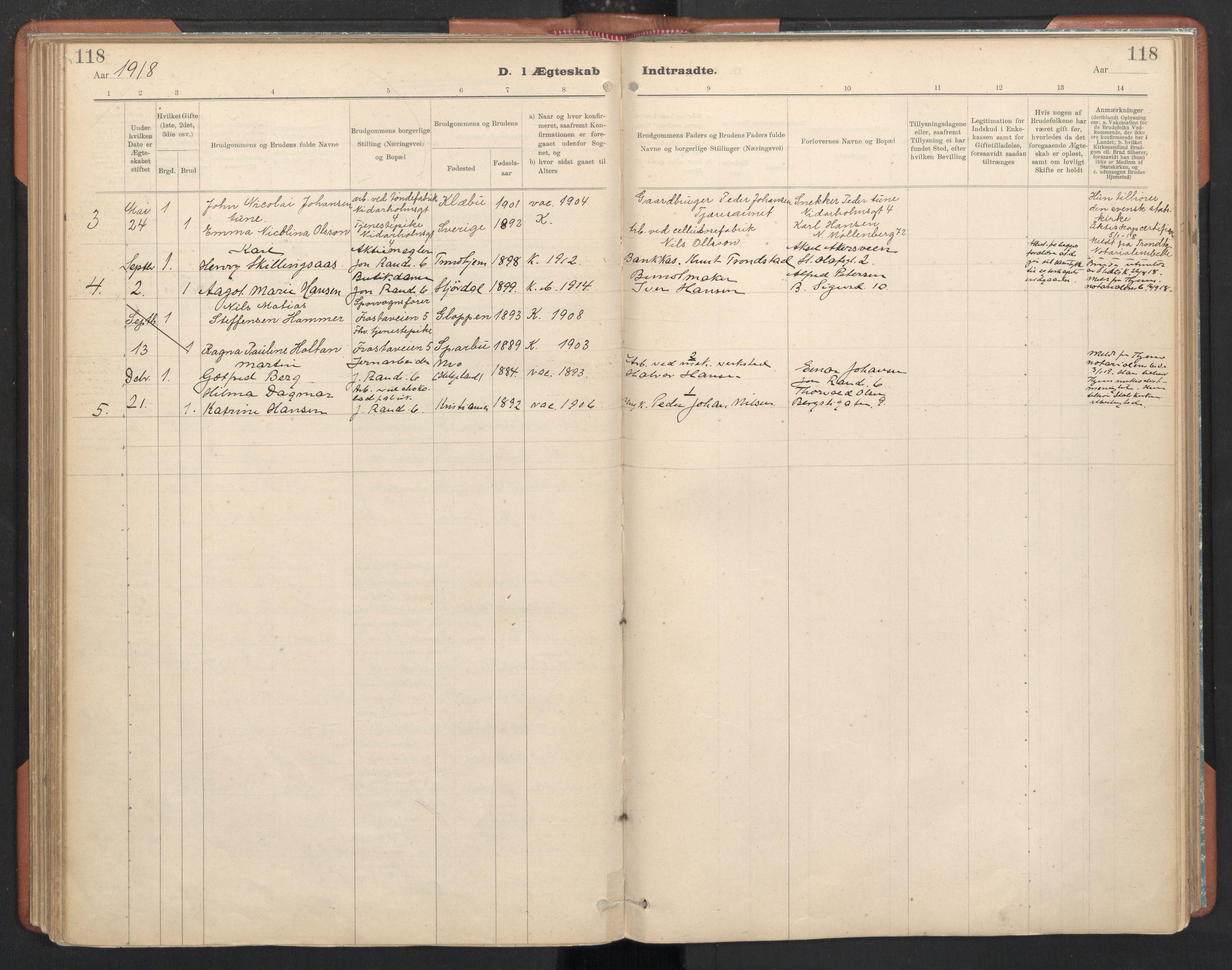 SAT, Ministerialprotokoller, klokkerbøker og fødselsregistre - Sør-Trøndelag, 605/L0244: Ministerialbok nr. 605A06, 1908-1954, s. 118