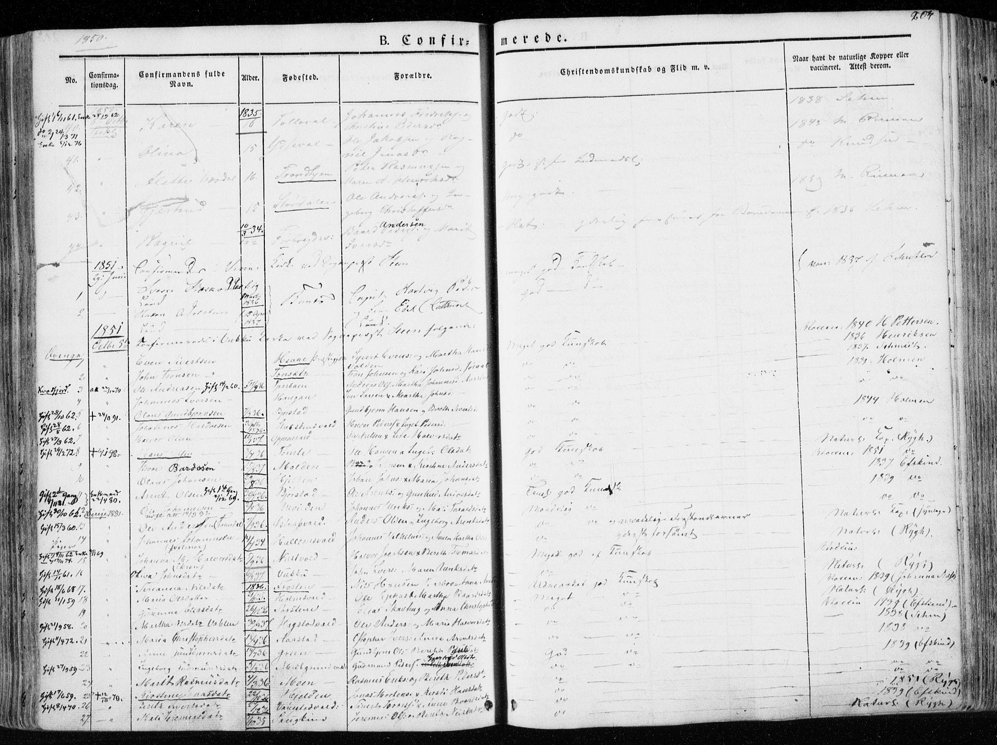 SAT, Ministerialprotokoller, klokkerbøker og fødselsregistre - Nord-Trøndelag, 723/L0239: Ministerialbok nr. 723A08, 1841-1851, s. 204
