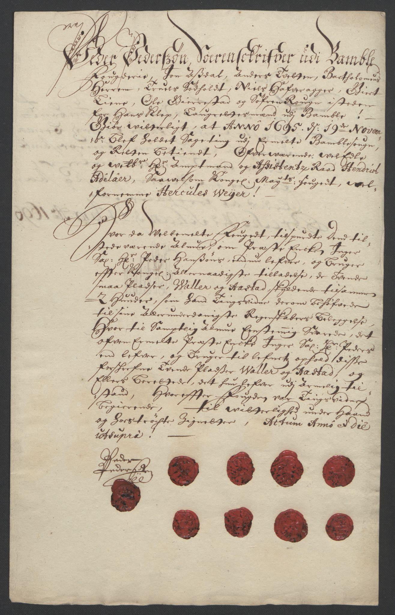 RA, Rentekammeret inntil 1814, Reviderte regnskaper, Fogderegnskap, R36/L2093: Fogderegnskap Øvre og Nedre Telemark og Bamble, 1695, s. 523