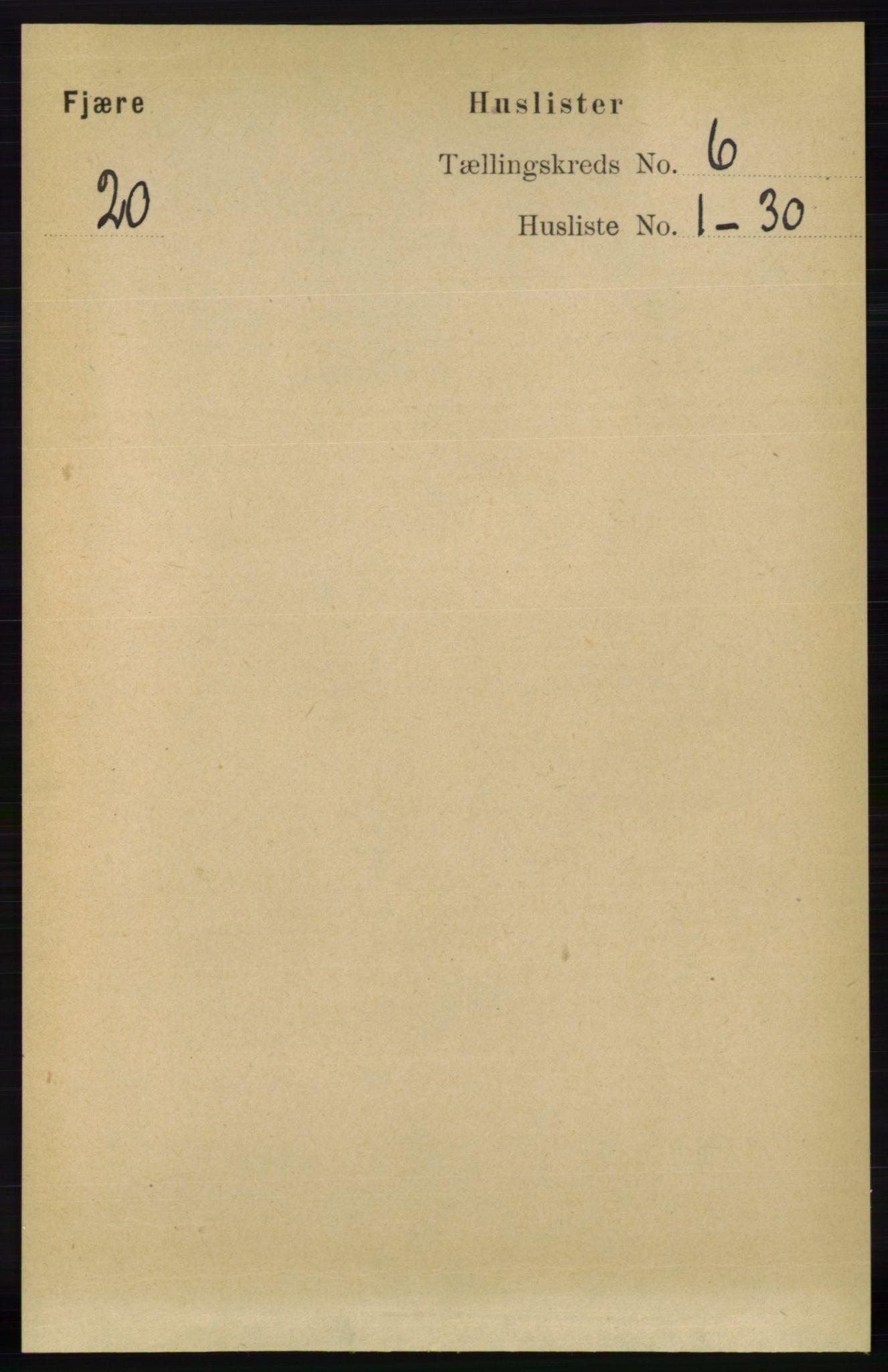 RA, Folketelling 1891 for 0923 Fjære herred, 1891, s. 2926