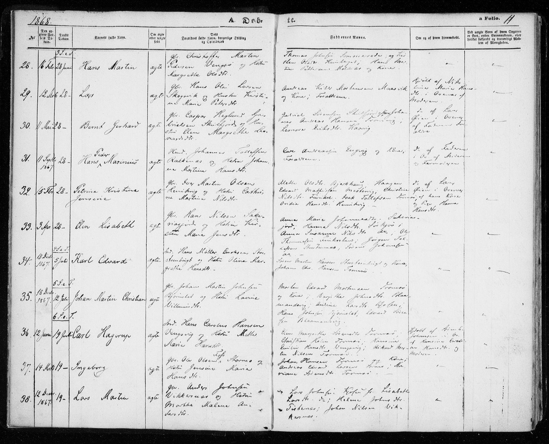 SATØ, Tromsøysund sokneprestkontor, G/Ga/L0002kirke: Ministerialbok nr. 2, 1867-1875, s. 11