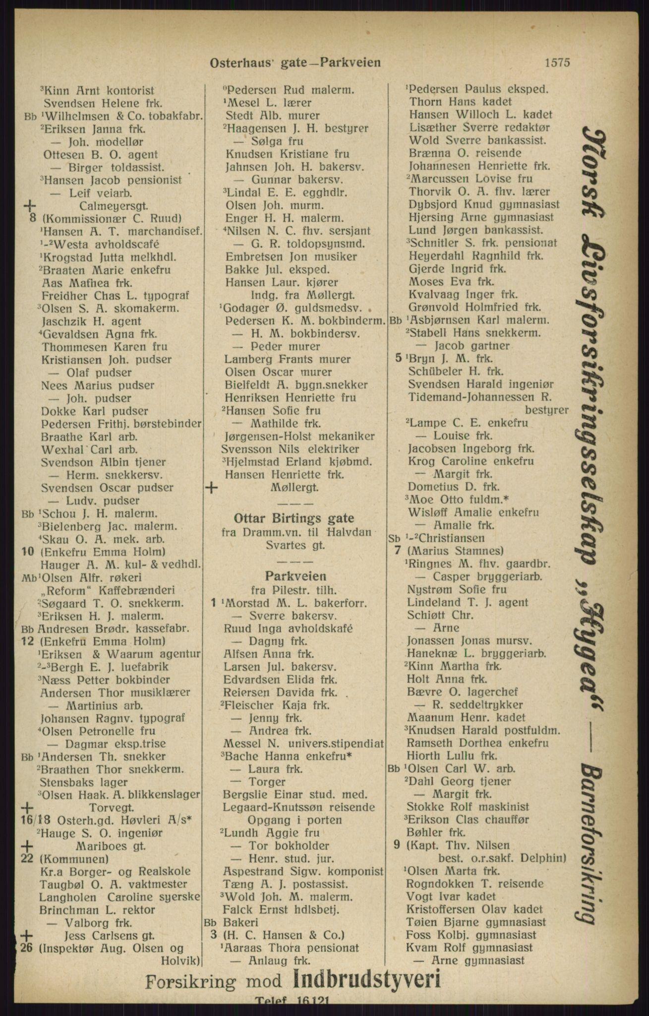 RA, Kristiania adressebok (publikasjon)*, 1916, s. 1575