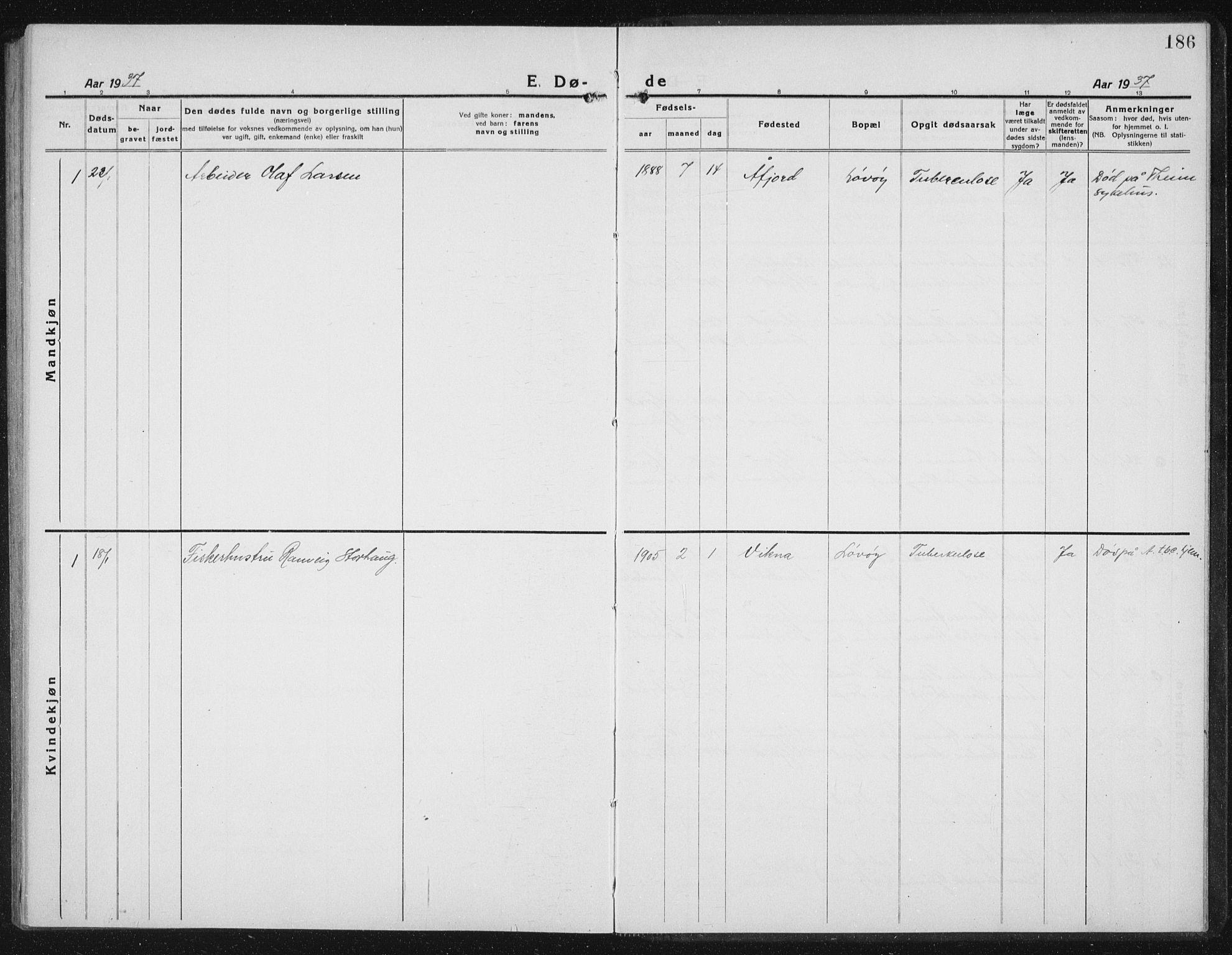 SAT, Ministerialprotokoller, klokkerbøker og fødselsregistre - Sør-Trøndelag, 655/L0689: Klokkerbok nr. 655C05, 1922-1936, s. 186
