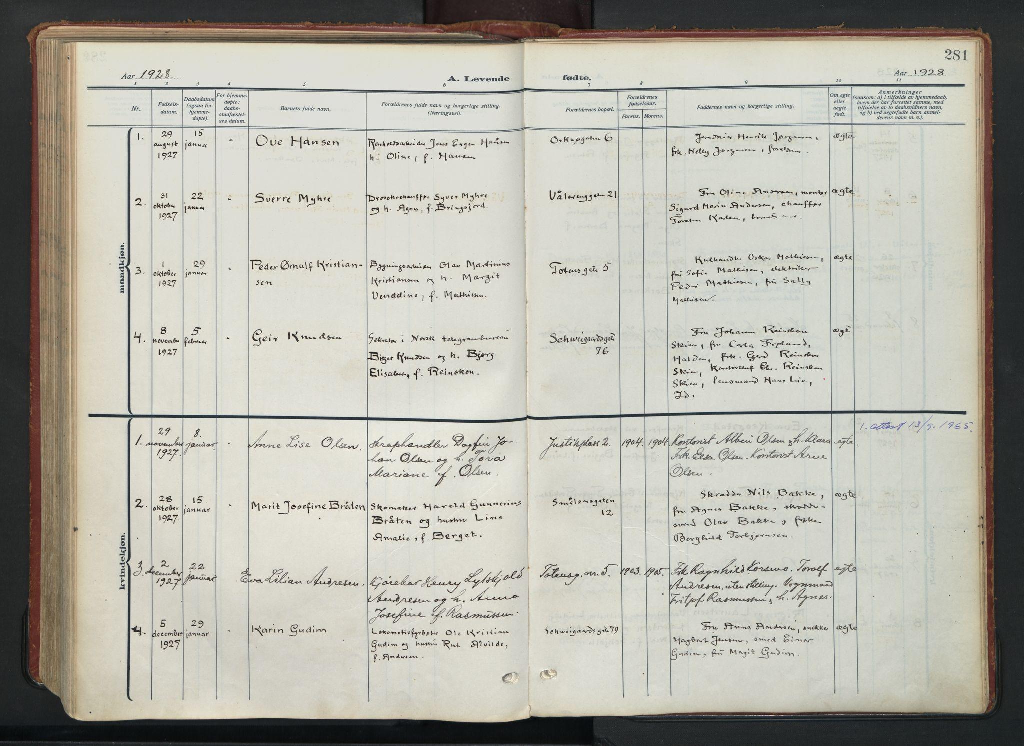 SAO, Vålerengen prestekontor Kirkebøker, F/Fa/L0004: Ministerialbok nr. 4, 1915-1929, s. 281