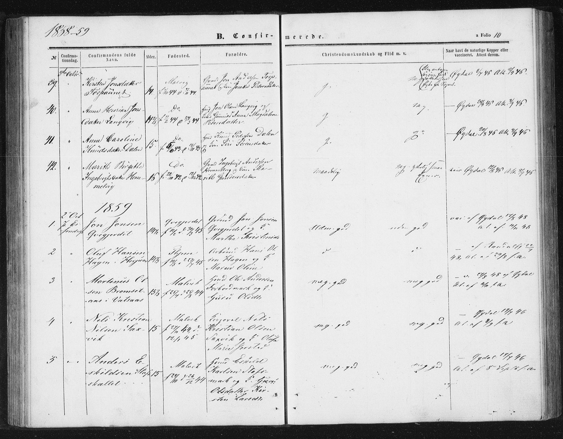 SAT, Ministerialprotokoller, klokkerbøker og fødselsregistre - Sør-Trøndelag, 616/L0408: Ministerialbok nr. 616A05, 1857-1865, s. 10