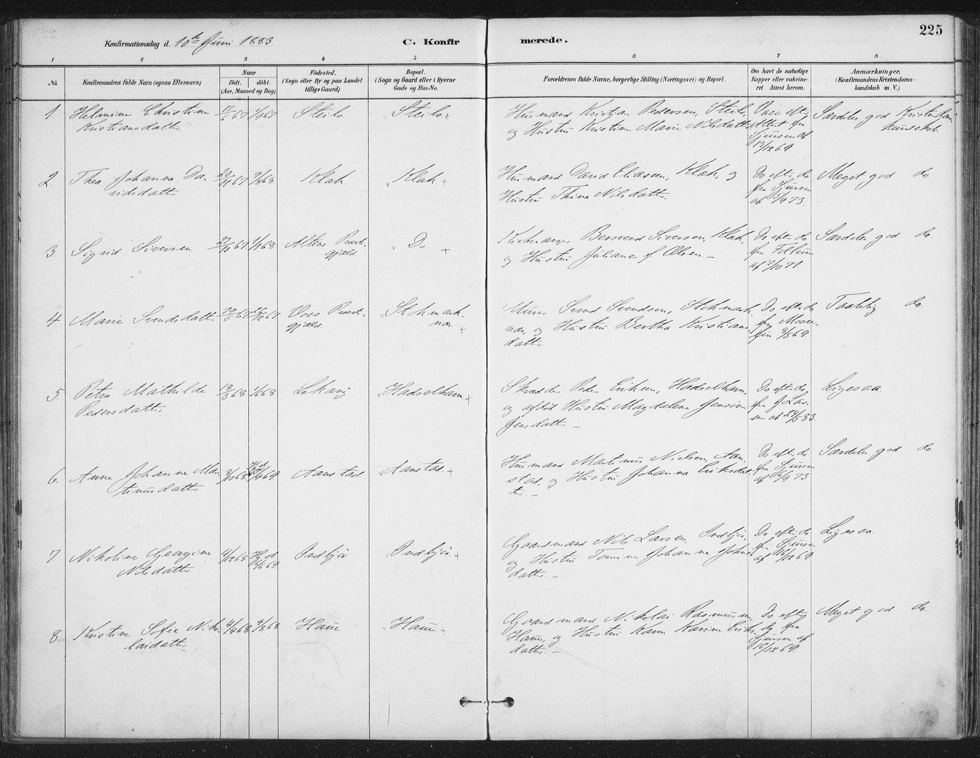 SAT, Ministerialprotokoller, klokkerbøker og fødselsregistre - Nordland, 888/L1244: Ministerialbok nr. 888A10, 1880-1890, s. 225