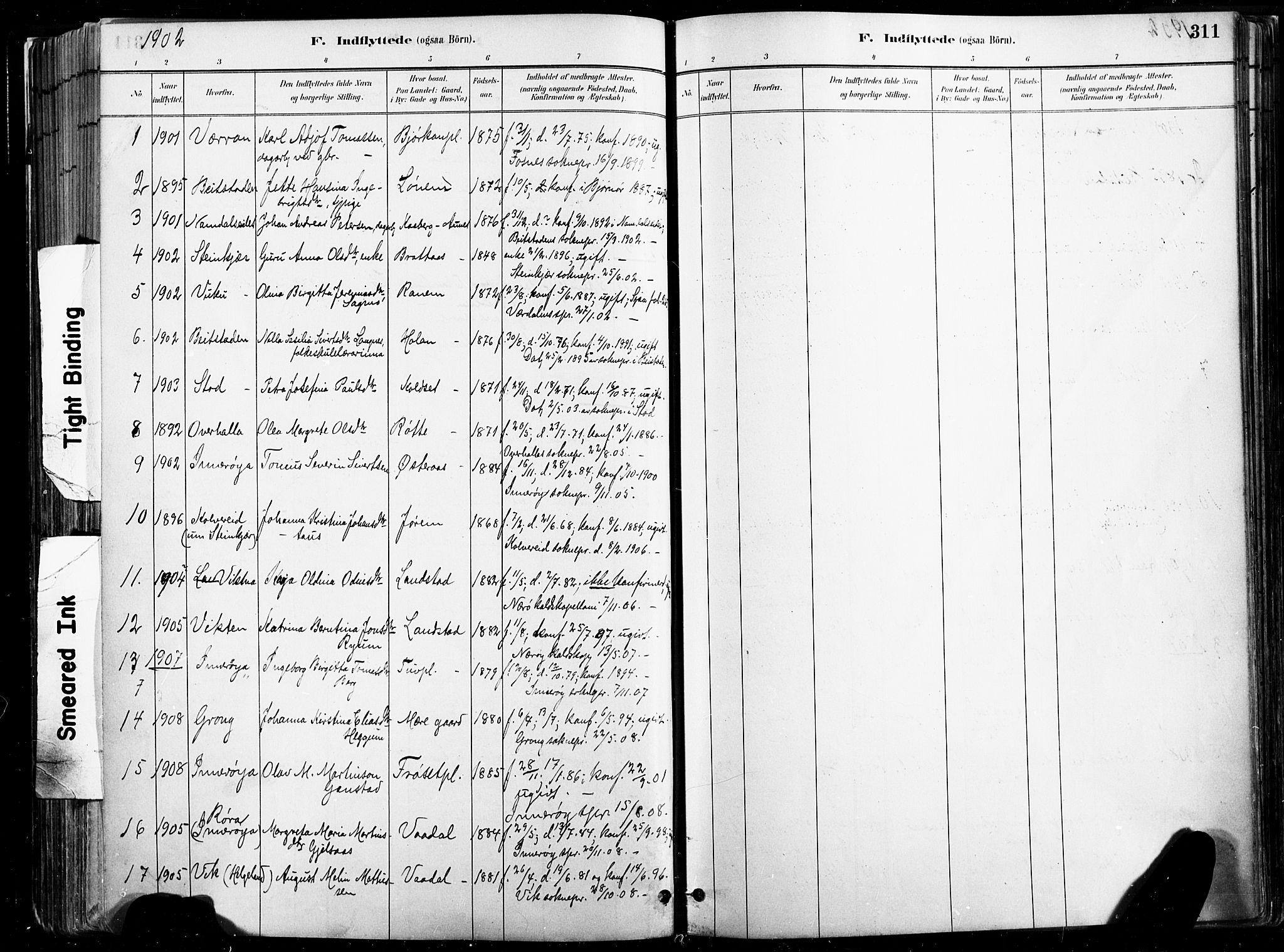 SAT, Ministerialprotokoller, klokkerbøker og fødselsregistre - Nord-Trøndelag, 735/L0351: Ministerialbok nr. 735A10, 1884-1908, s. 311