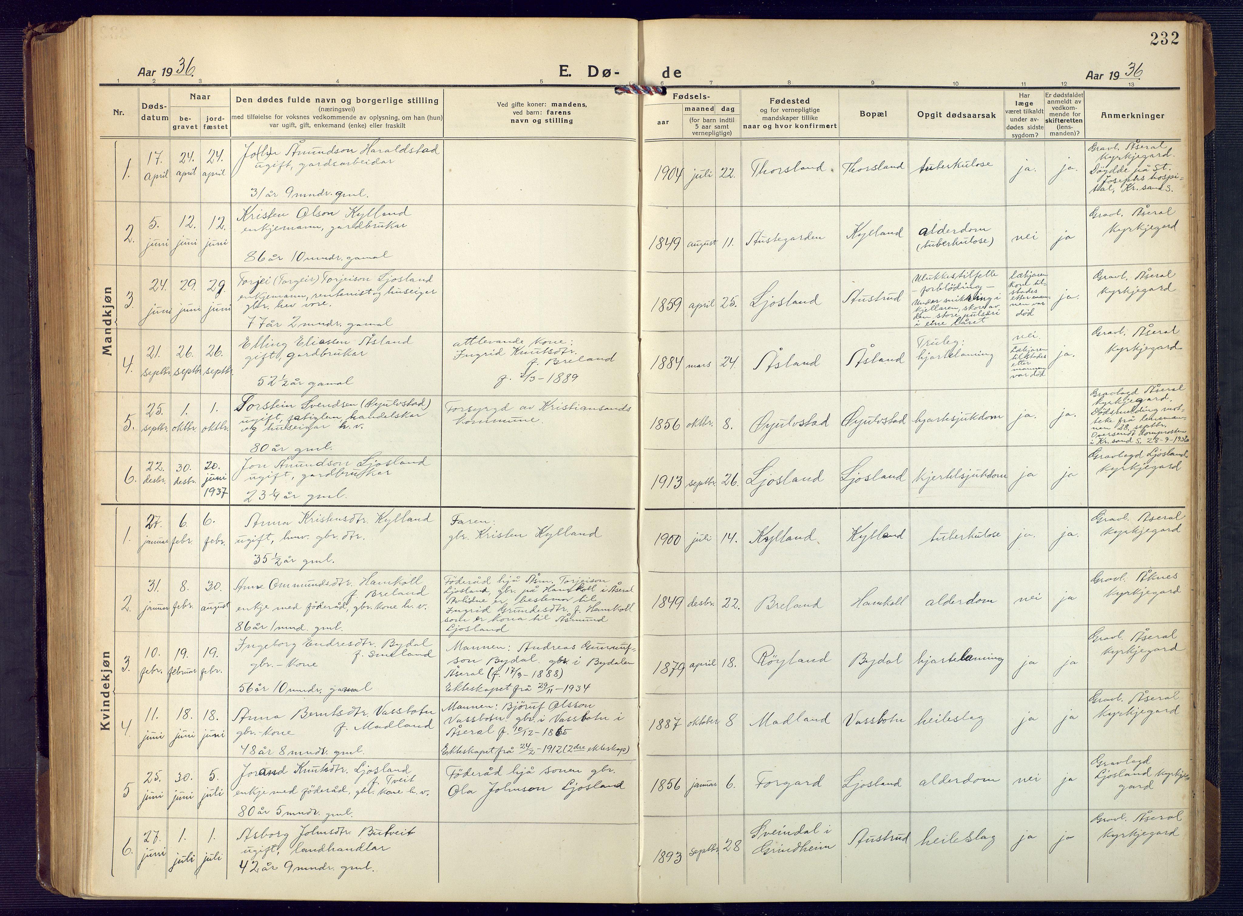 SAK, Åseral sokneprestkontor, F/Fb/L0004: Klokkerbok nr. B 4, 1920-1946, s. 232