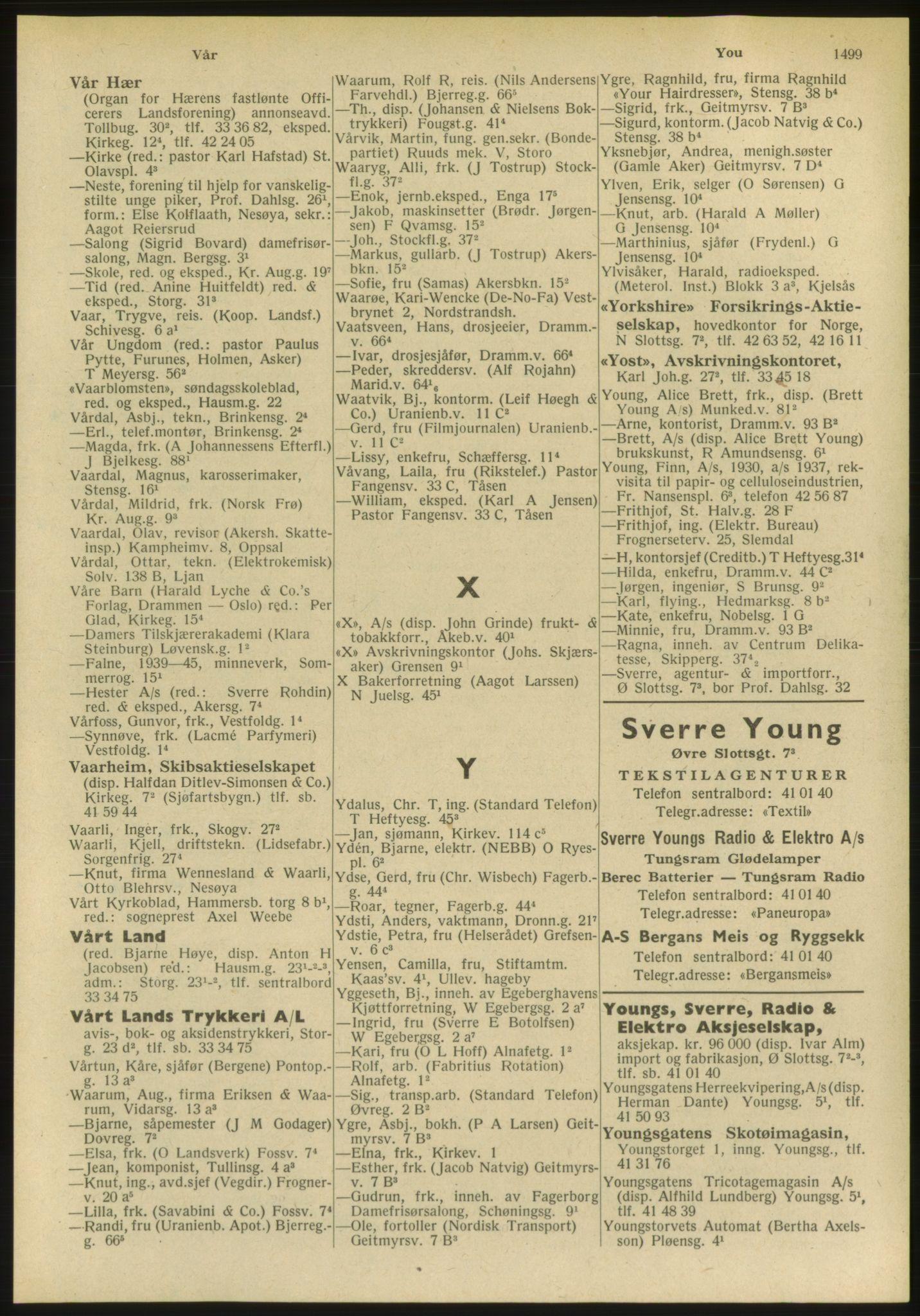 PUBL, Kristiania/Oslo adressebok, 1951, s. 1499