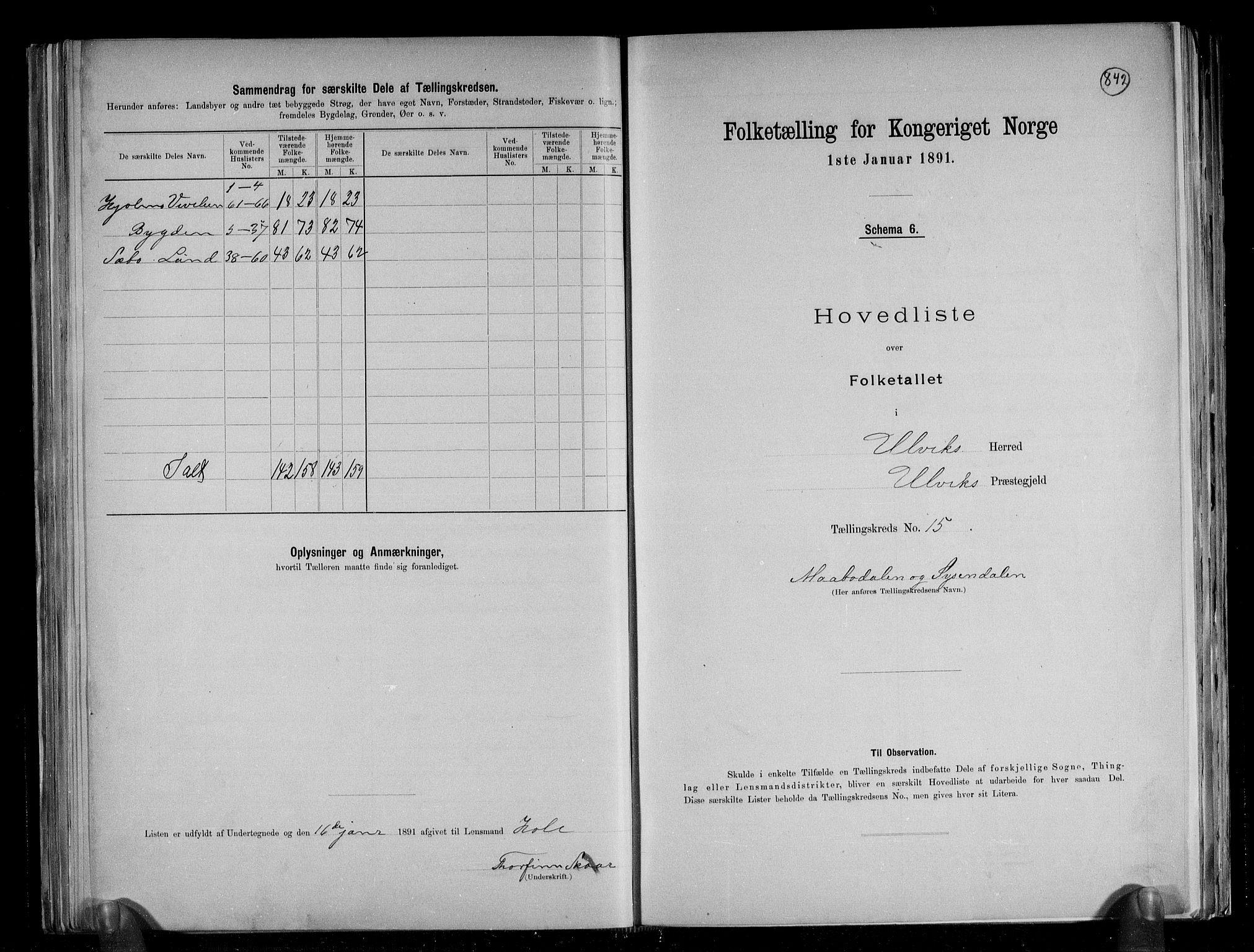 RA, Folketelling 1891 for 1233 Ulvik herred, 1891, s. 37
