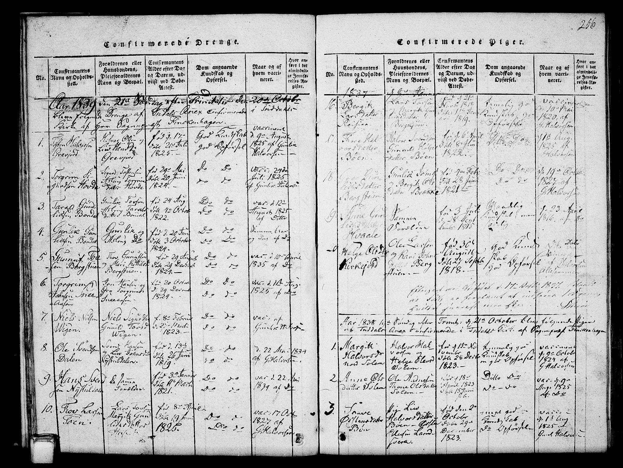 SAKO, Hjartdal kirkebøker, G/Gc/L0001: Klokkerbok nr. III 1, 1815-1842, s. 256
