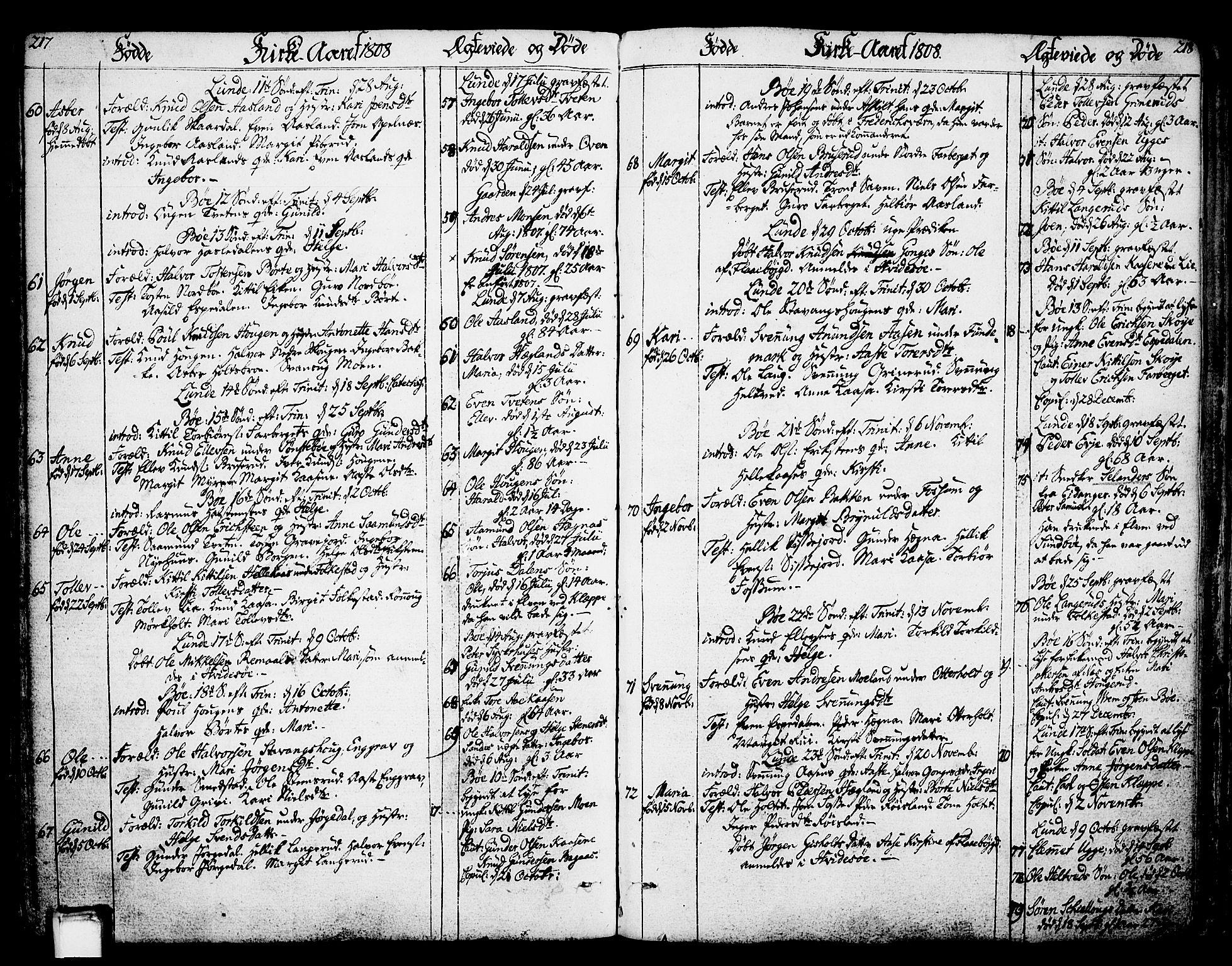 SAKO, Bø kirkebøker, F/Fa/L0005: Ministerialbok nr. 5, 1785-1815, s. 217-218