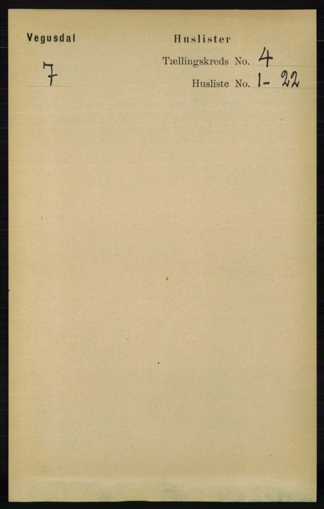 RA, Folketelling 1891 for 0934 Vegusdal herred, 1891, s. 686