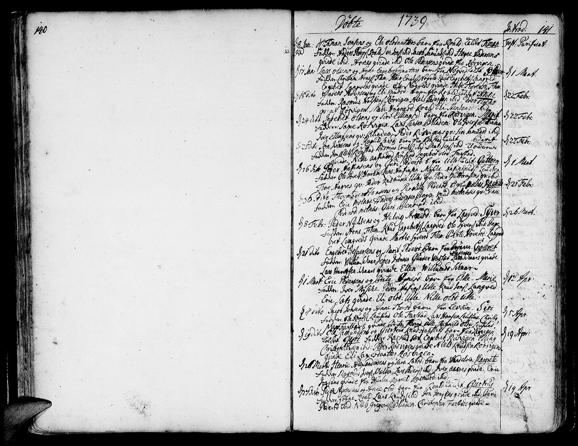 SAT, Ministerialprotokoller, klokkerbøker og fødselsregistre - Møre og Romsdal, 536/L0493: Ministerialbok nr. 536A02, 1739-1802, s. 140-141