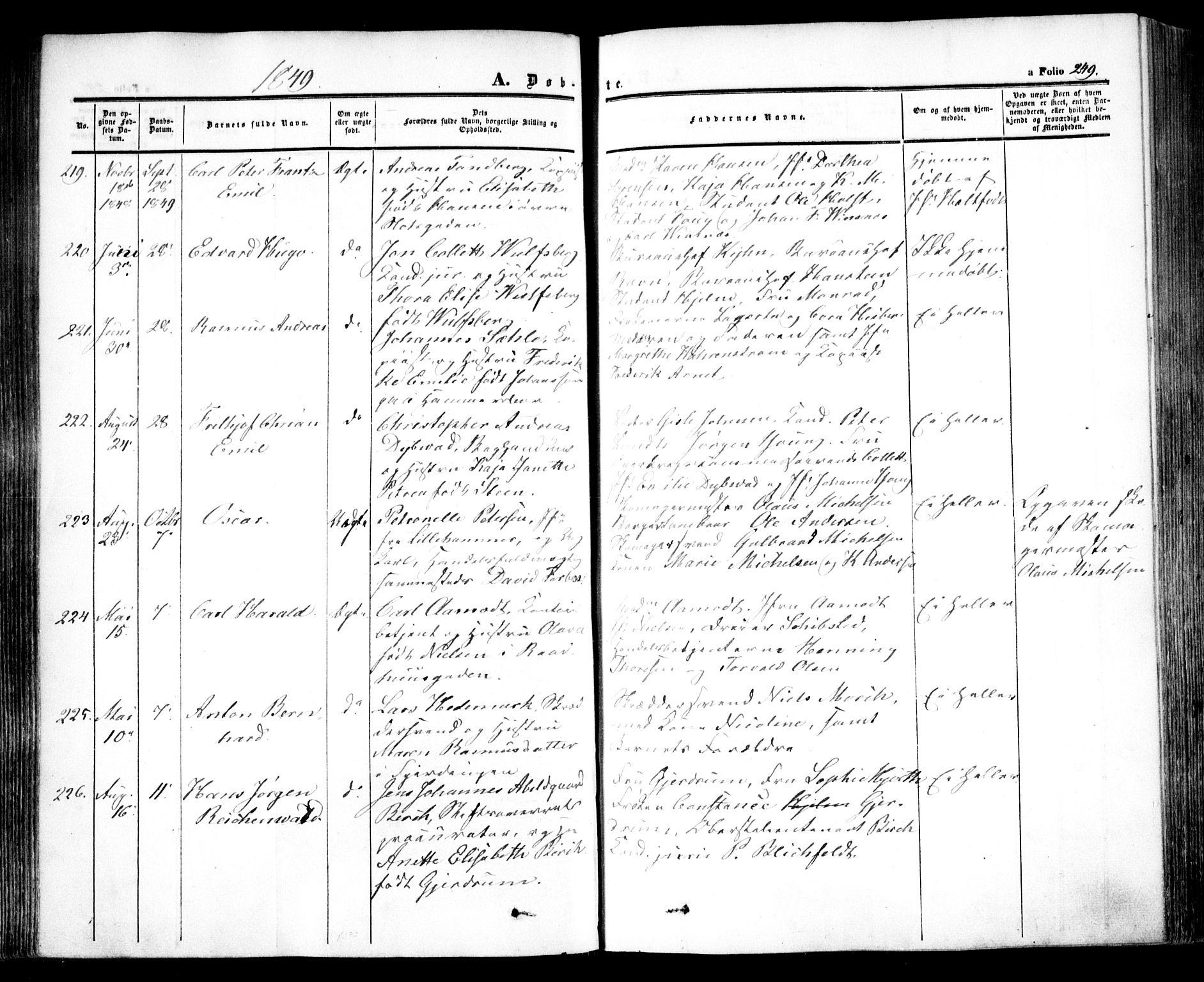 SAO, Oslo domkirke Kirkebøker, F/Fa/L0013: Ministerialbok nr. 13, 1844-1864, s. 249