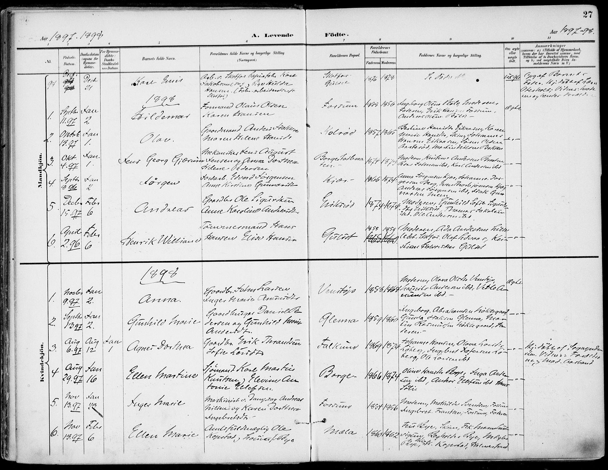 SAKO, Gjerpen kirkebøker, F/Fa/L0011: Ministerialbok nr. 11, 1896-1904, s. 27