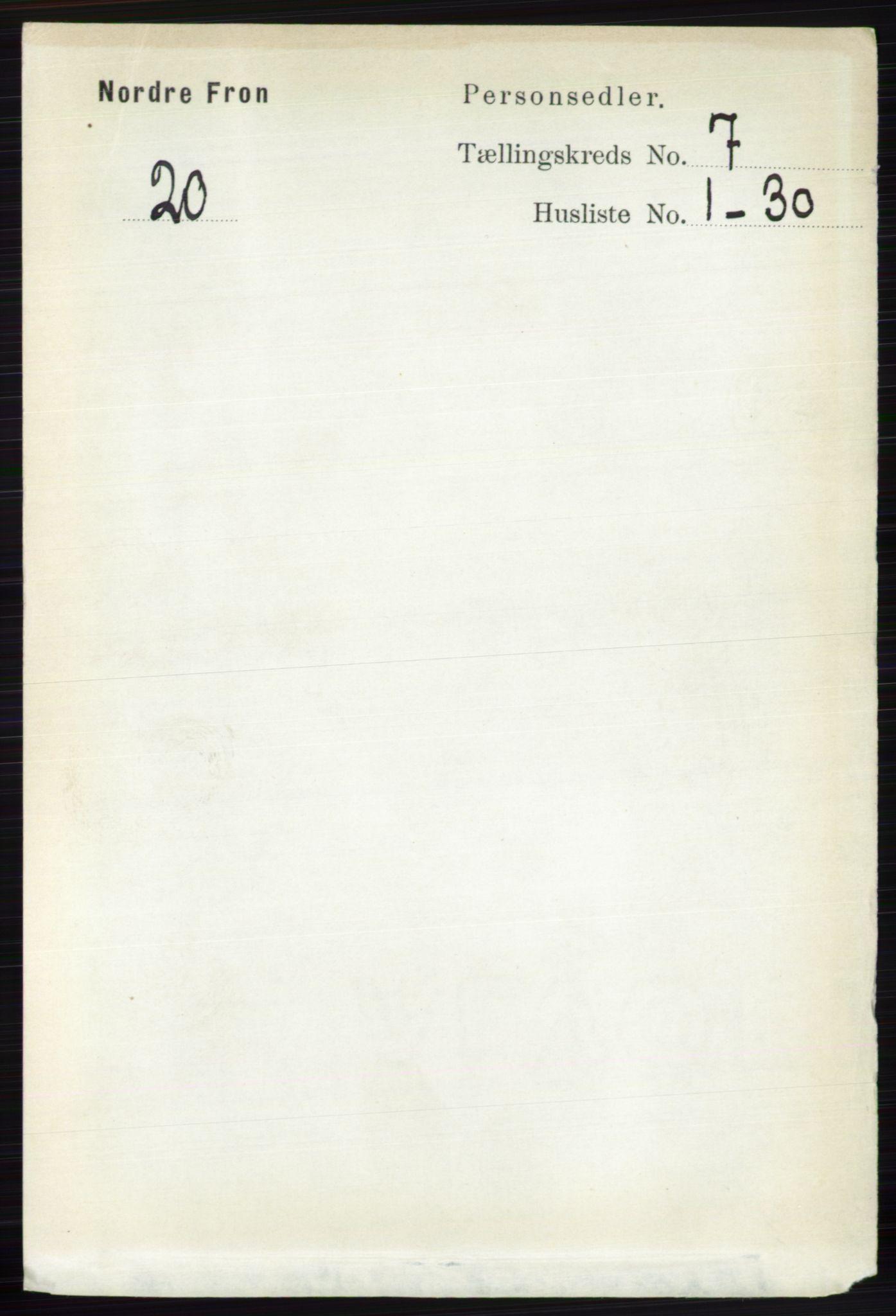 RA, Folketelling 1891 for 0518 Nord-Fron herred, 1891, s. 2836