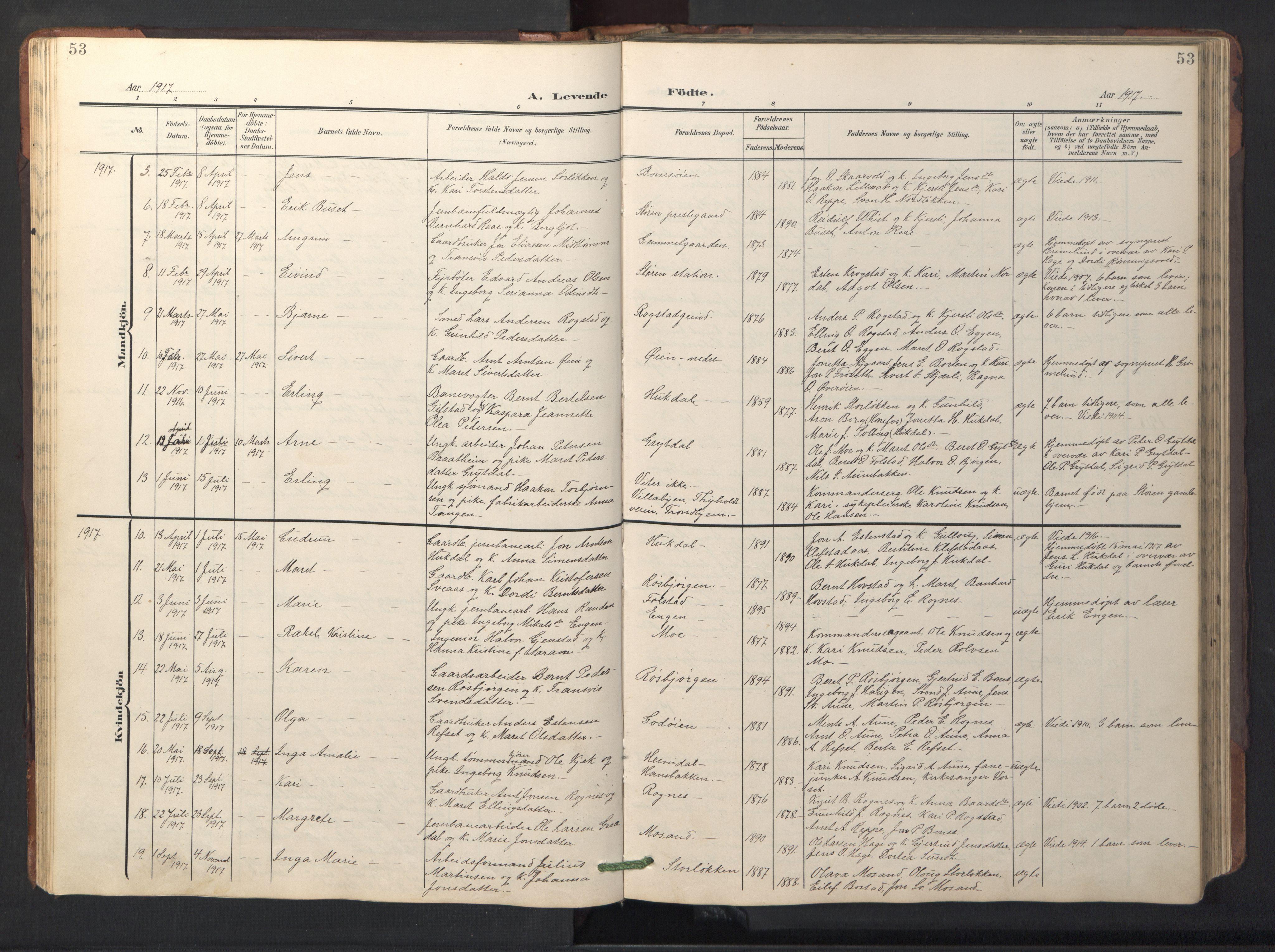 SAT, Ministerialprotokoller, klokkerbøker og fødselsregistre - Sør-Trøndelag, 687/L1019: Klokkerbok nr. 687C03, 1904-1931, s. 53