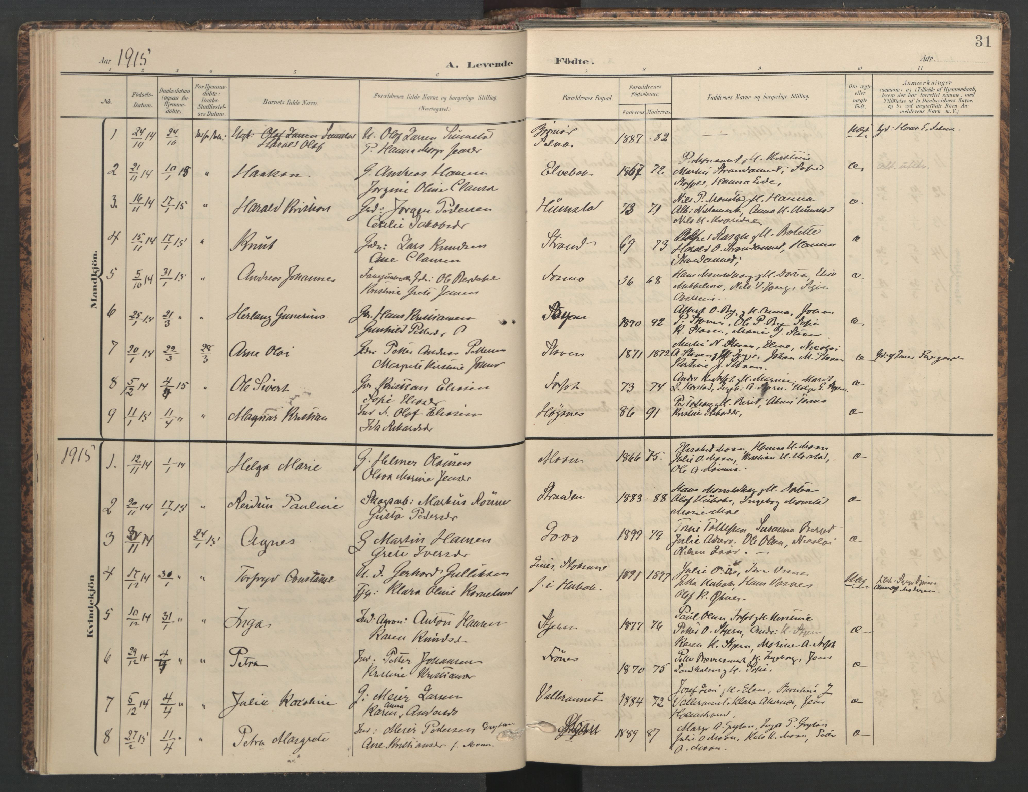 SAT, Ministerialprotokoller, klokkerbøker og fødselsregistre - Sør-Trøndelag, 655/L0682: Ministerialbok nr. 655A11, 1908-1922, s. 31