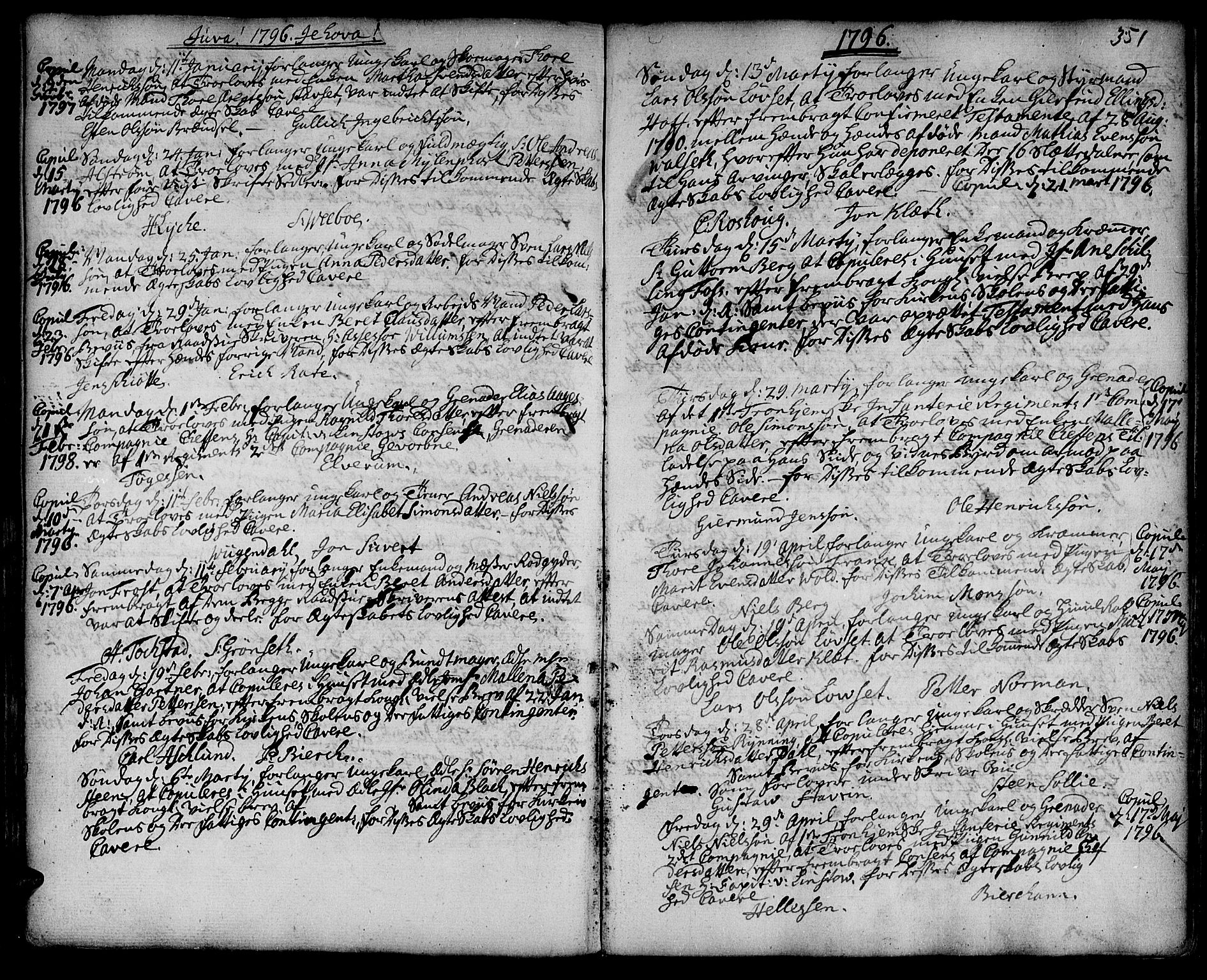 SAT, Ministerialprotokoller, klokkerbøker og fødselsregistre - Sør-Trøndelag, 601/L0038: Ministerialbok nr. 601A06, 1766-1877, s. 351