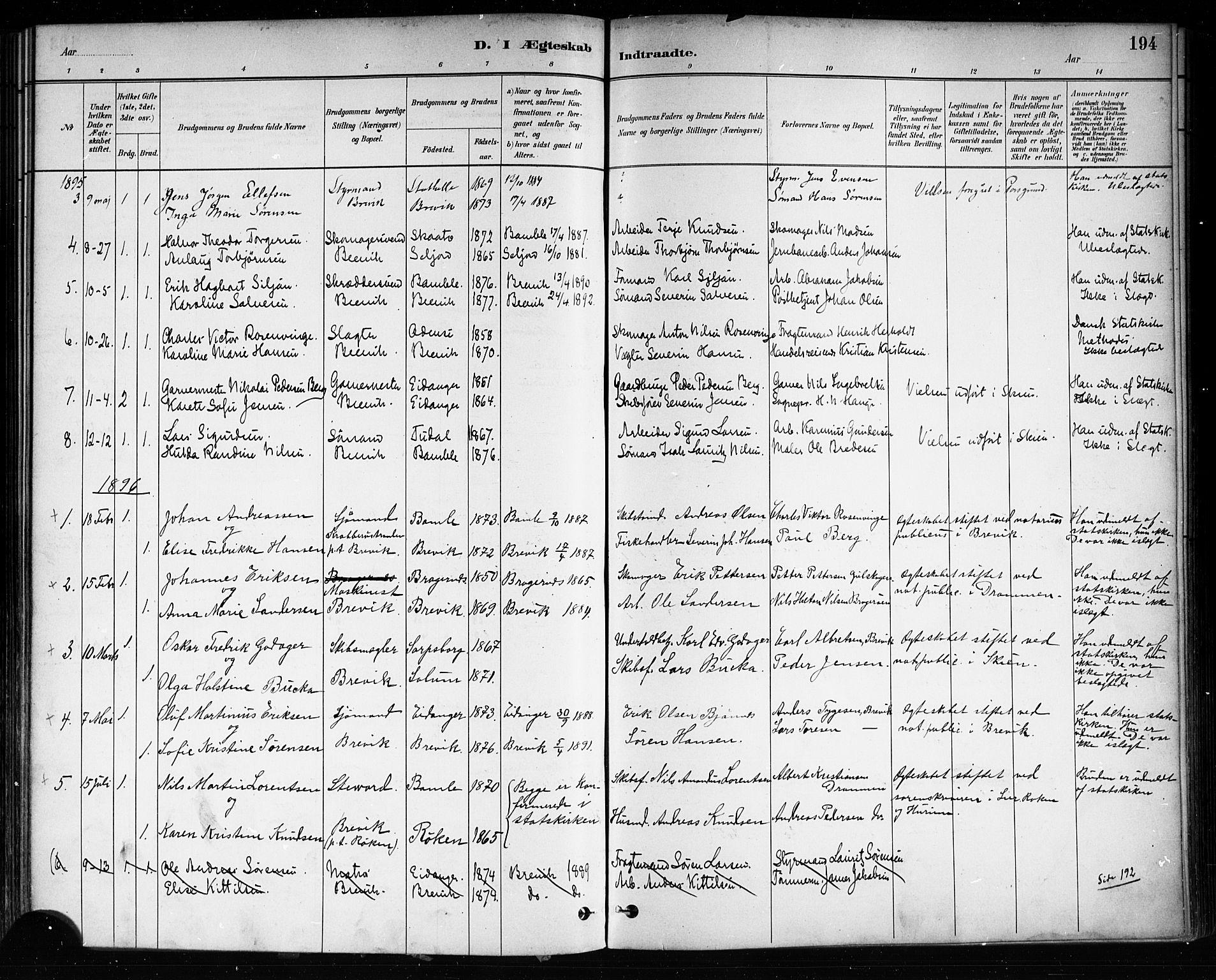 SAKO, Brevik kirkebøker, F/Fa/L0007: Ministerialbok nr. 7, 1882-1900, s. 194