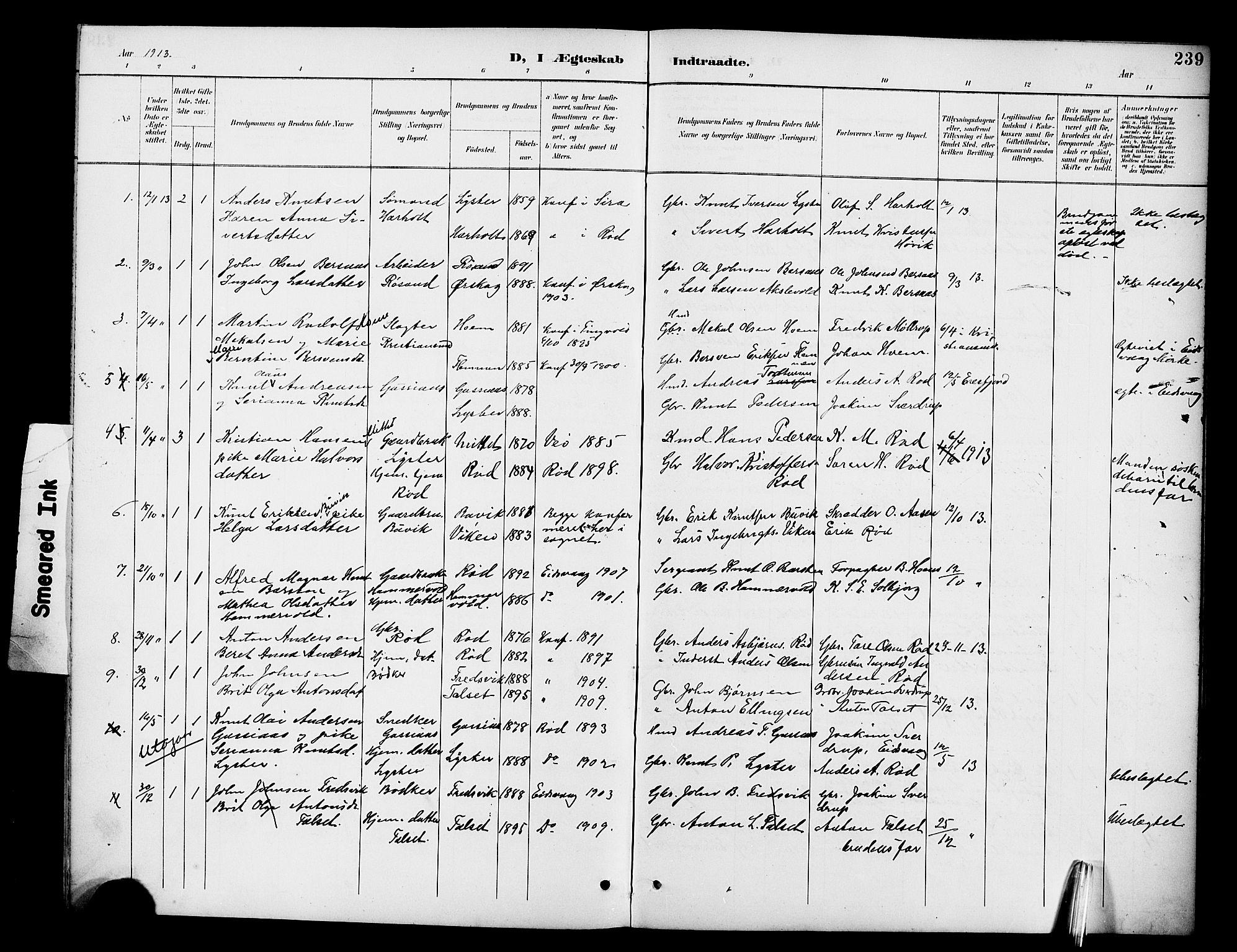 SAT, Ministerialprotokoller, klokkerbøker og fødselsregistre - Møre og Romsdal, 551/L0632: Klokkerbok nr. 551C04, 1894-1920, s. 239