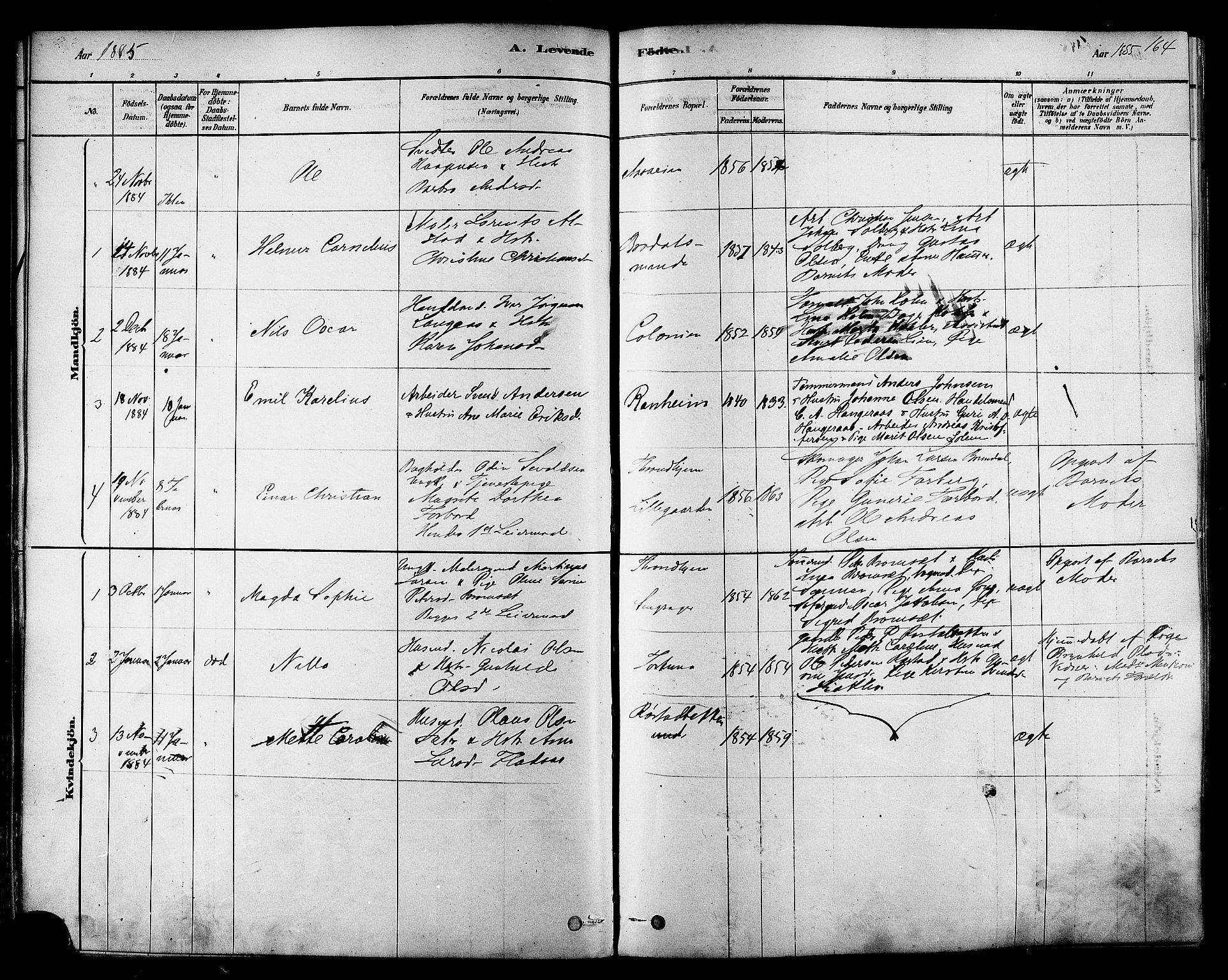 SAT, Ministerialprotokoller, klokkerbøker og fødselsregistre - Sør-Trøndelag, 606/L0294: Ministerialbok nr. 606A09, 1878-1886, s. 164