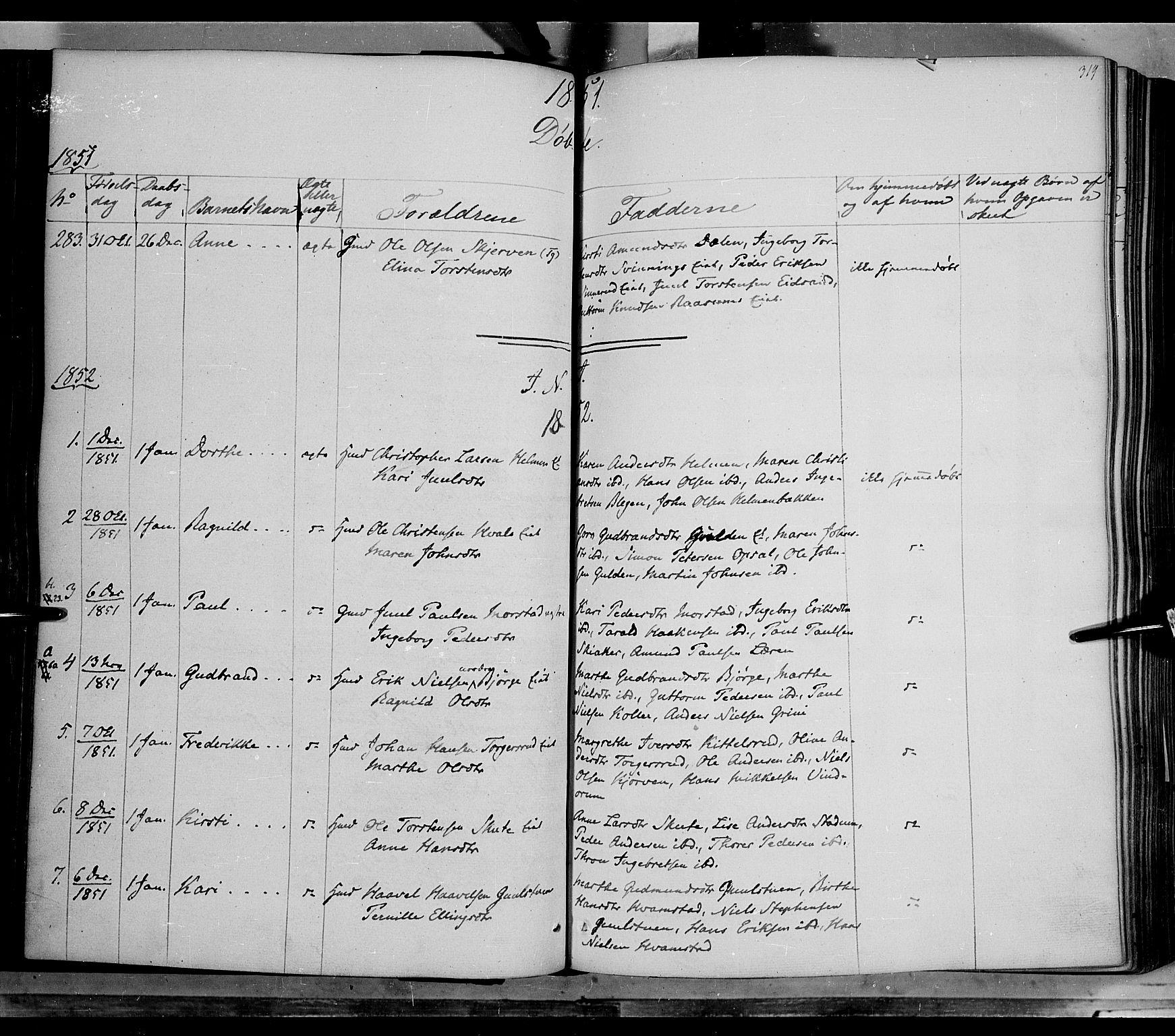 SAH, Gran prestekontor, Ministerialbok nr. 11, 1842-1856, s. 318-319