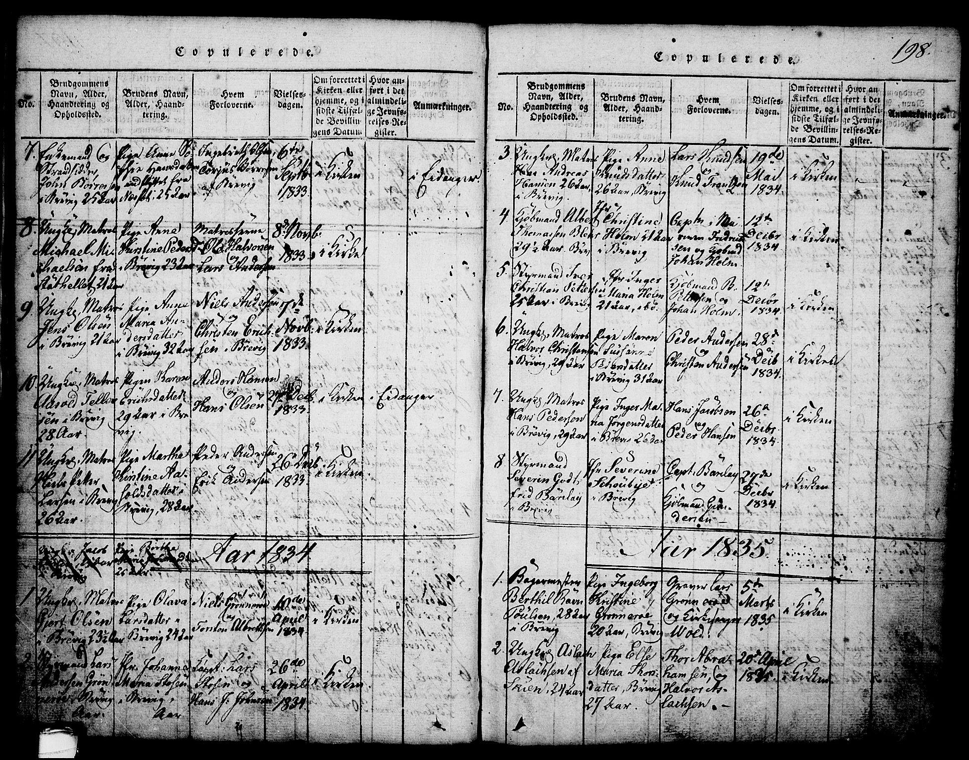 SAKO, Brevik kirkebøker, G/Ga/L0001: Klokkerbok nr. 1, 1814-1845, s. 198