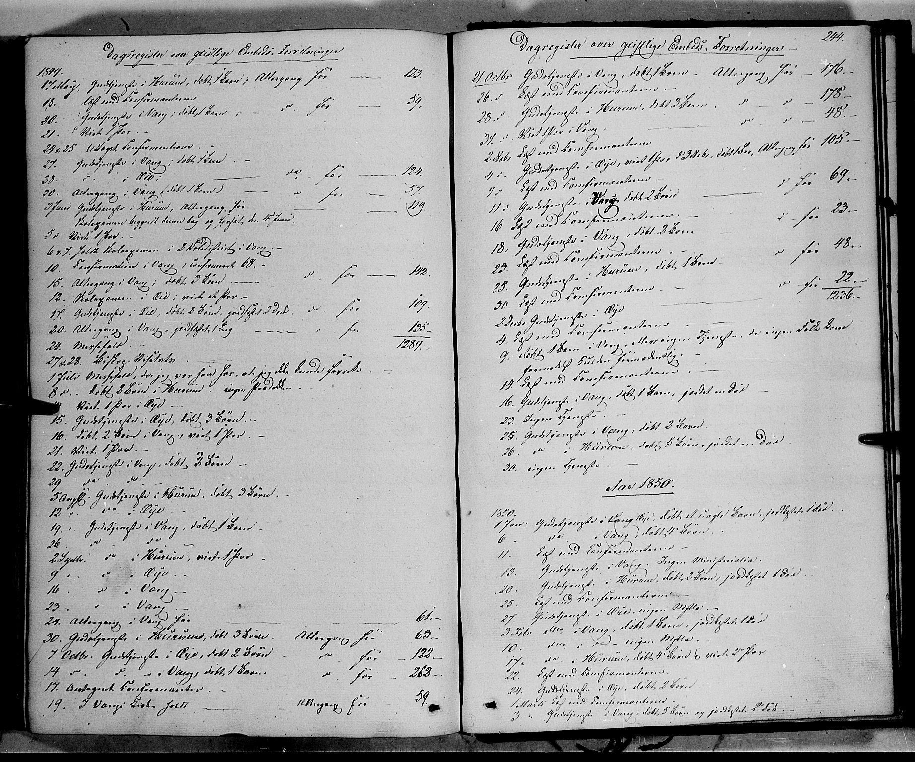 SAH, Vang prestekontor, Valdres, Ministerialbok nr. 6, 1846-1864, s. 244