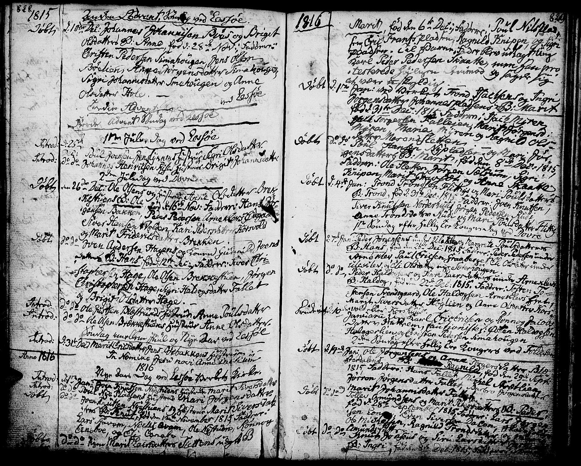 SAH, Lesja prestekontor, Ministerialbok nr. 3, 1777-1819, s. 828-829