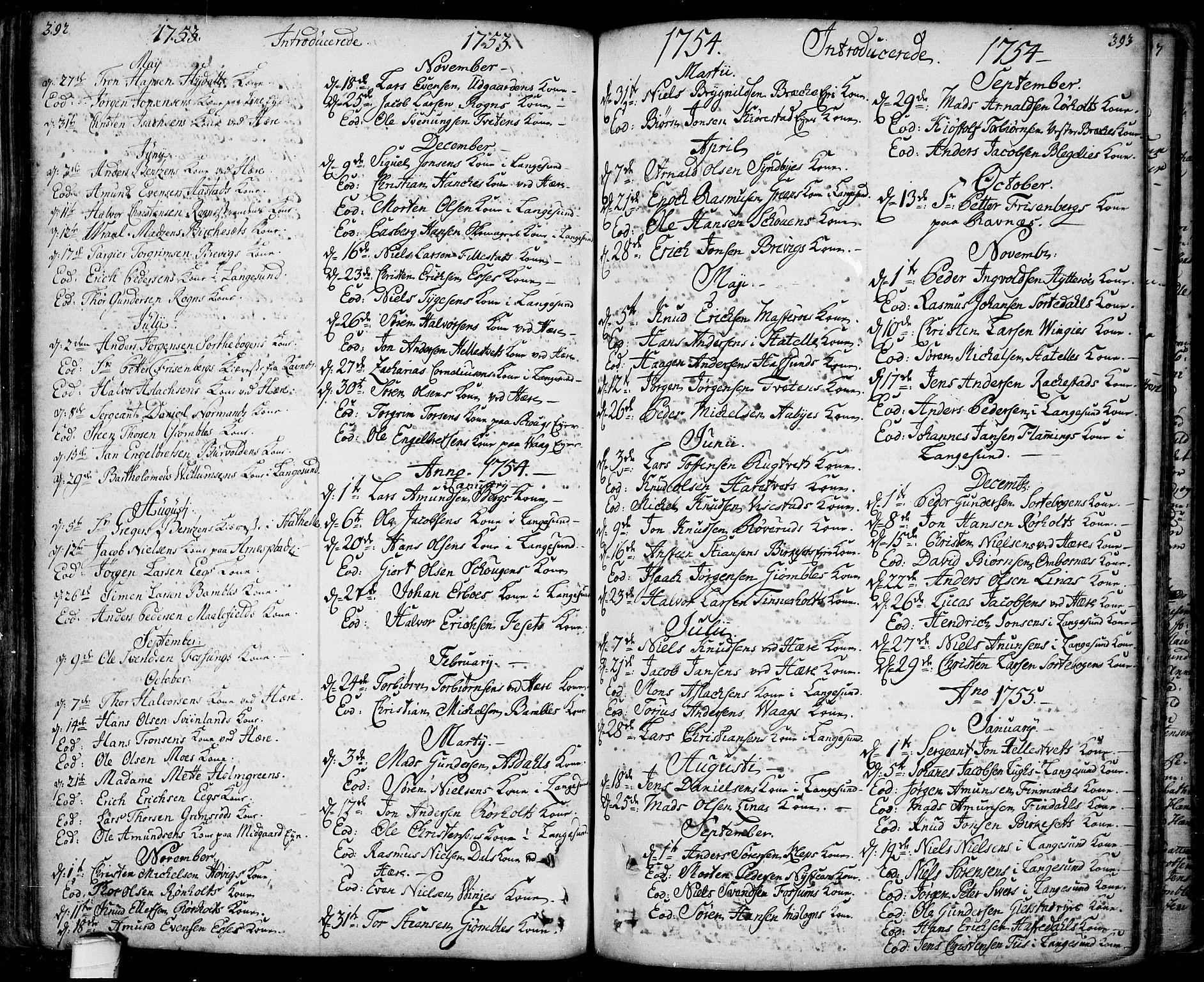 SAKO, Bamble kirkebøker, F/Fa/L0001: Ministerialbok nr. I 1, 1702-1774, s. 392-393
