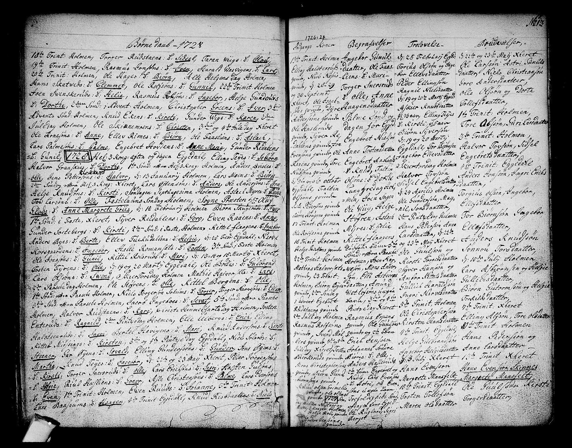 SAKO, Sigdal kirkebøker, F/Fa/L0001: Ministerialbok nr. I 1, 1722-1777, s. 13