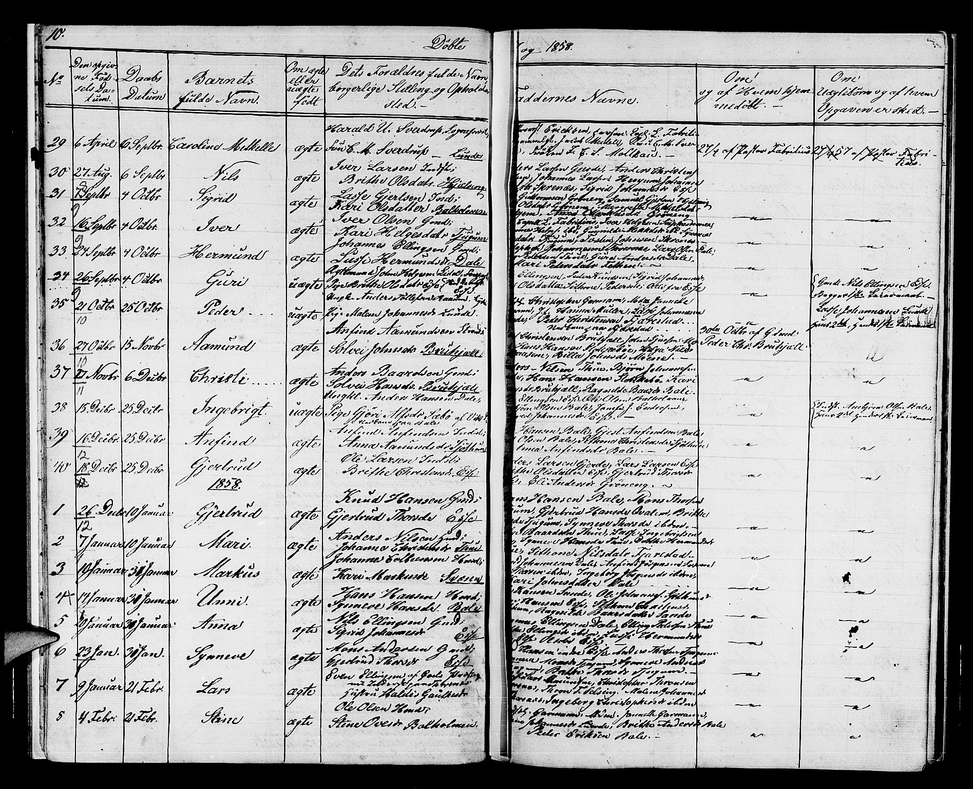SAB, Balestrand Sokneprestembete, Klokkerbok nr. A 1, 1853-1880, s. 10