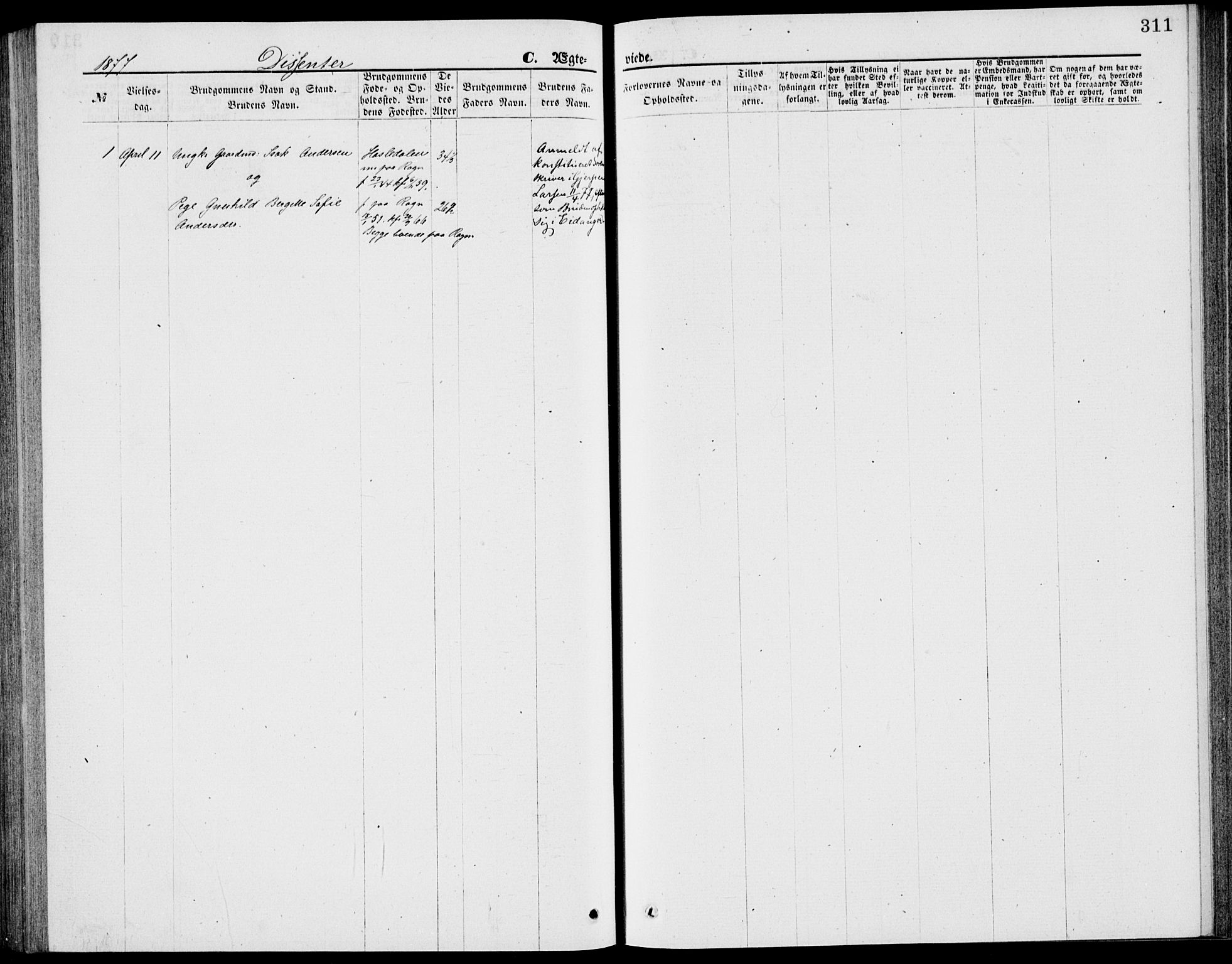SAKO, Bamble kirkebøker, G/Ga/L0007: Klokkerbok nr. I 7, 1876-1877, s. 311